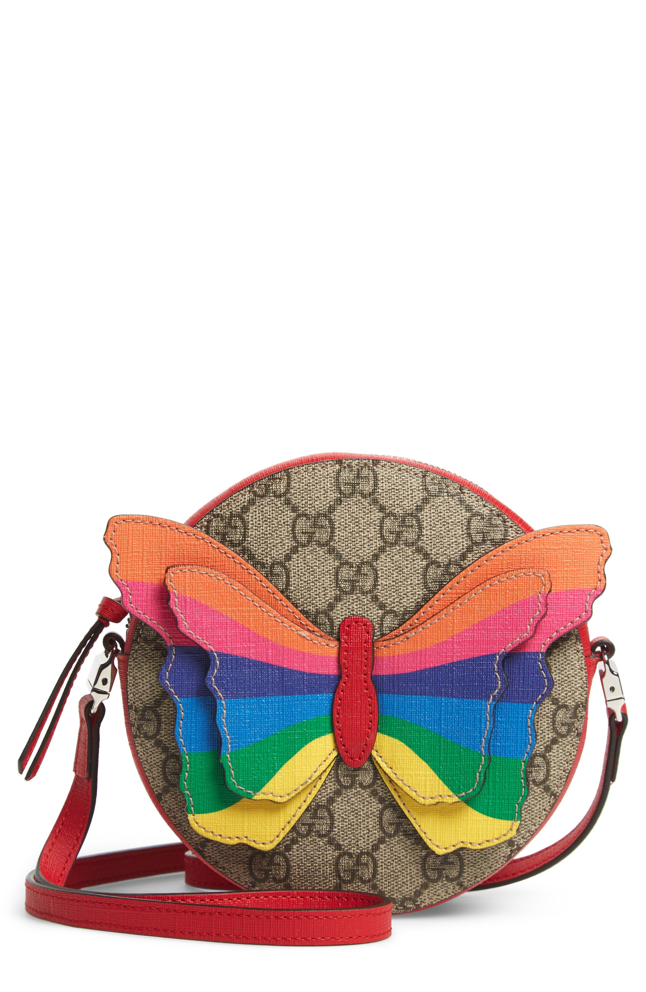 GUCCI,                             GG Supreme Rainbow Butterfly Crossbody Bag,                             Main thumbnail 1, color,                             BROWN MULTI