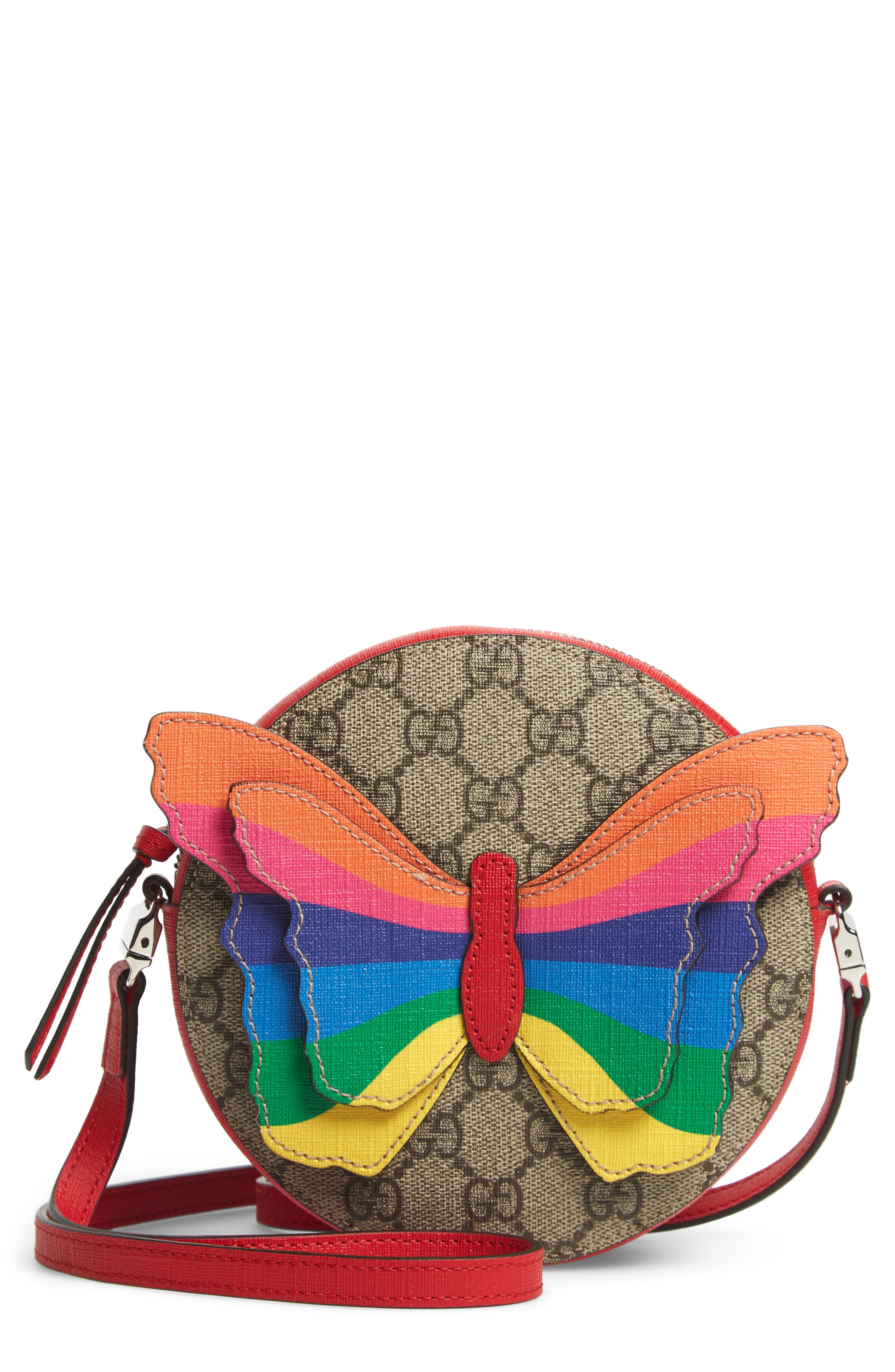 GUCCI GG Supreme Rainbow Butterfly Crossbody Bag, Main, color, BROWN MULTI
