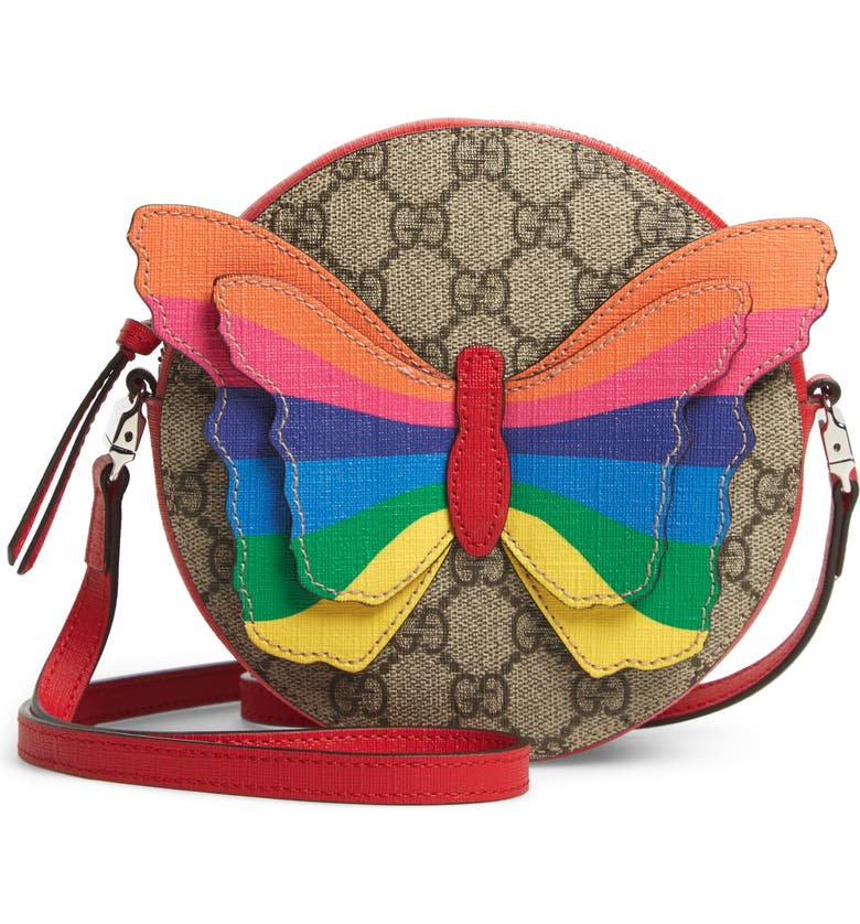 4dcfb3c71ff9ad GUCCI GG Supreme Rainbow Butterfly Crossbody Bag, Main, color, BROWN MULTI