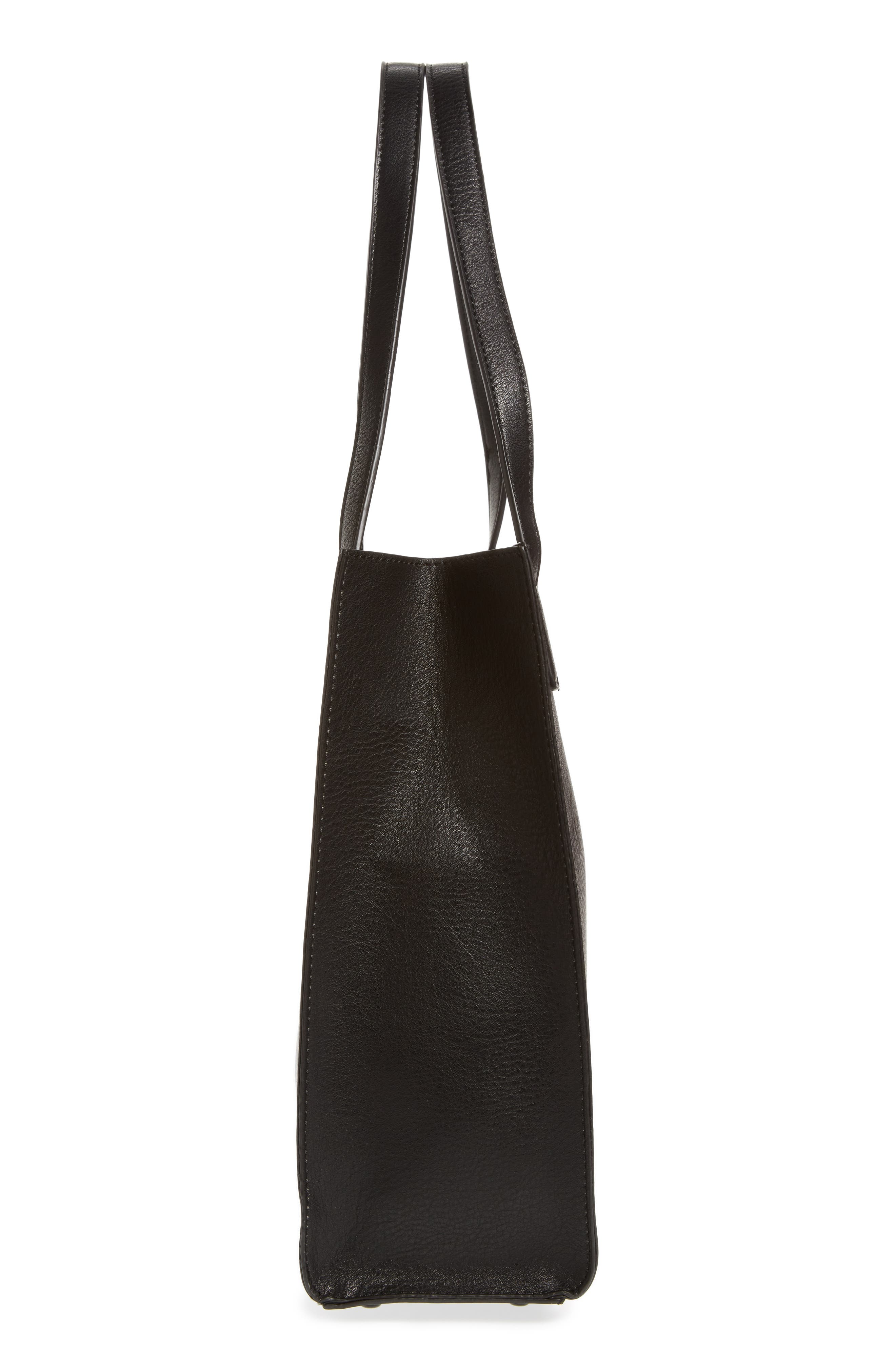 Alicia Faux Leather Tote Bag & Pouch Set,                             Alternate thumbnail 5, color,                             001