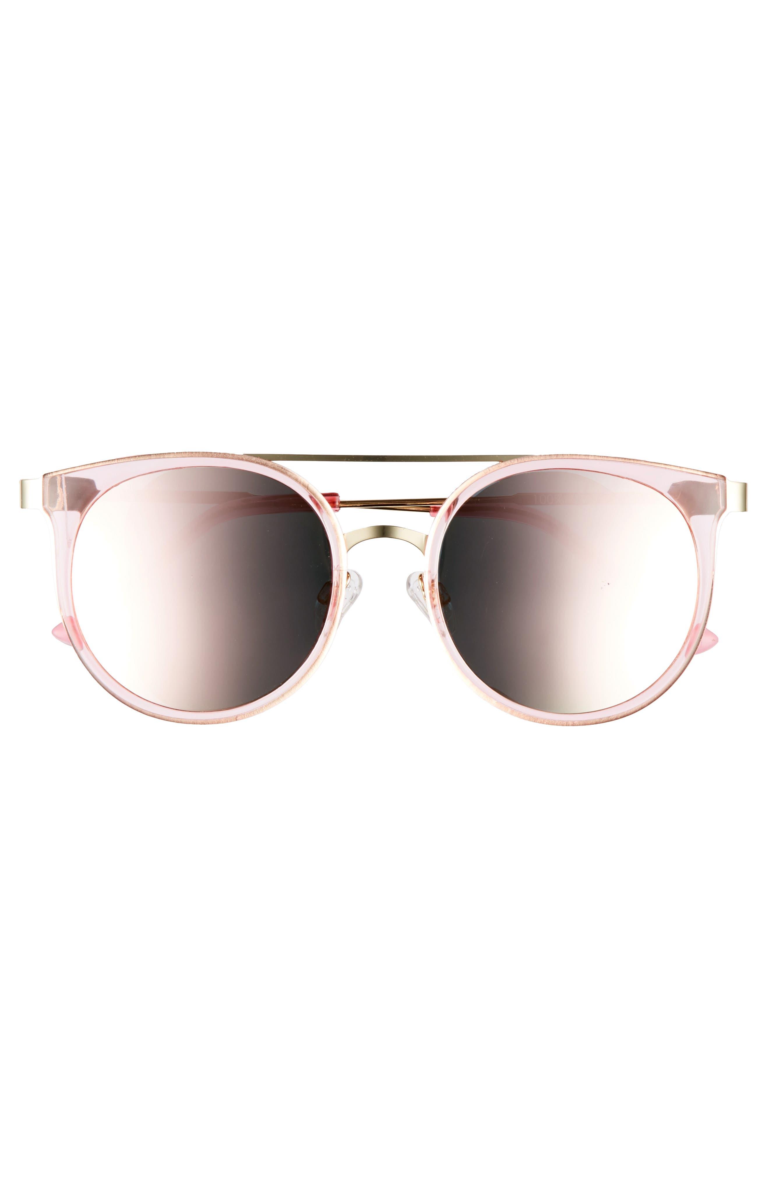 52mm Mirror Lens Round Sunglasses,                             Alternate thumbnail 3, color,                             710
