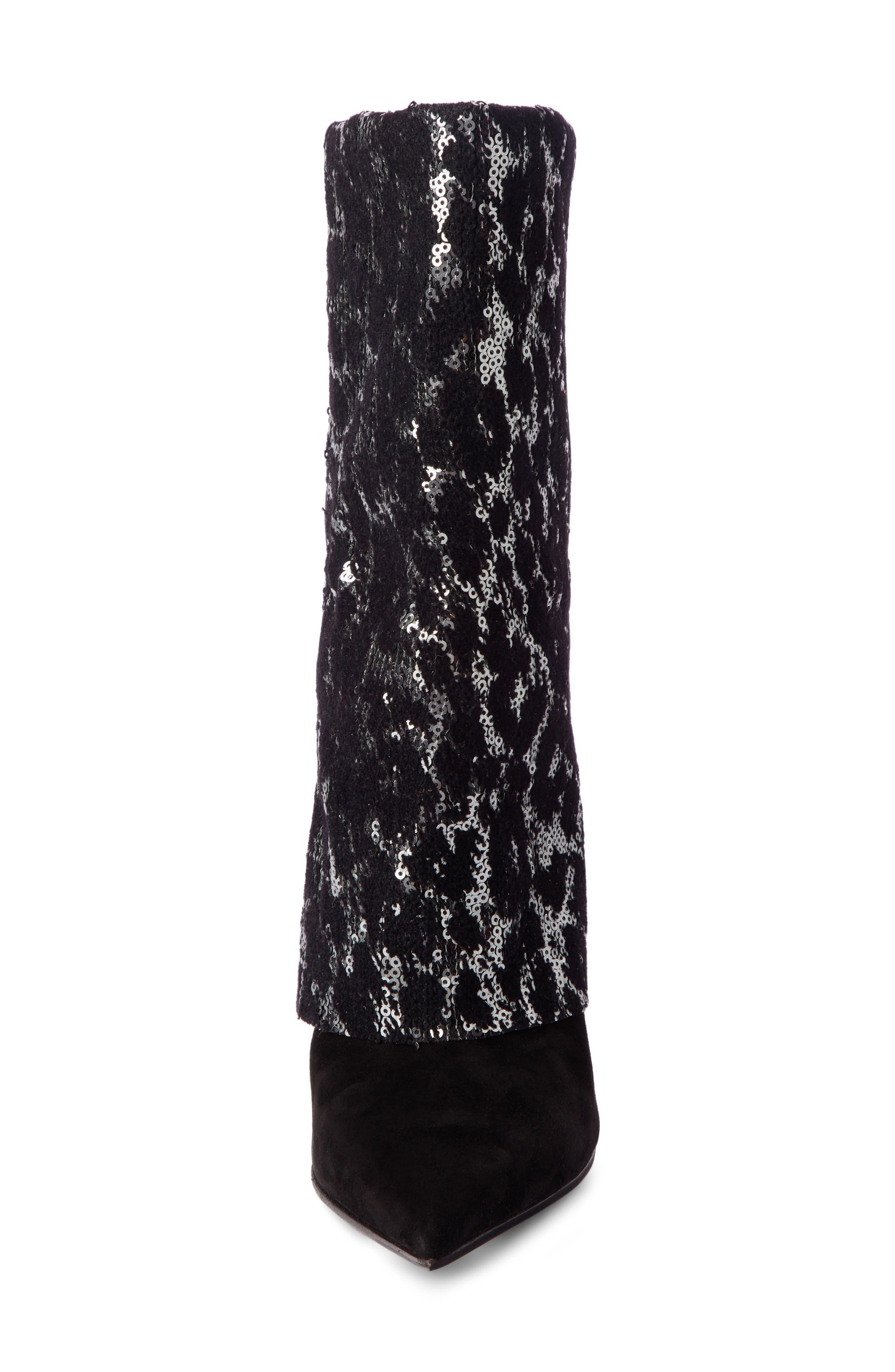 Babette Sequin Leopard Print Bootie,                             Alternate thumbnail 4, color,                             BLACK/ SILVER
