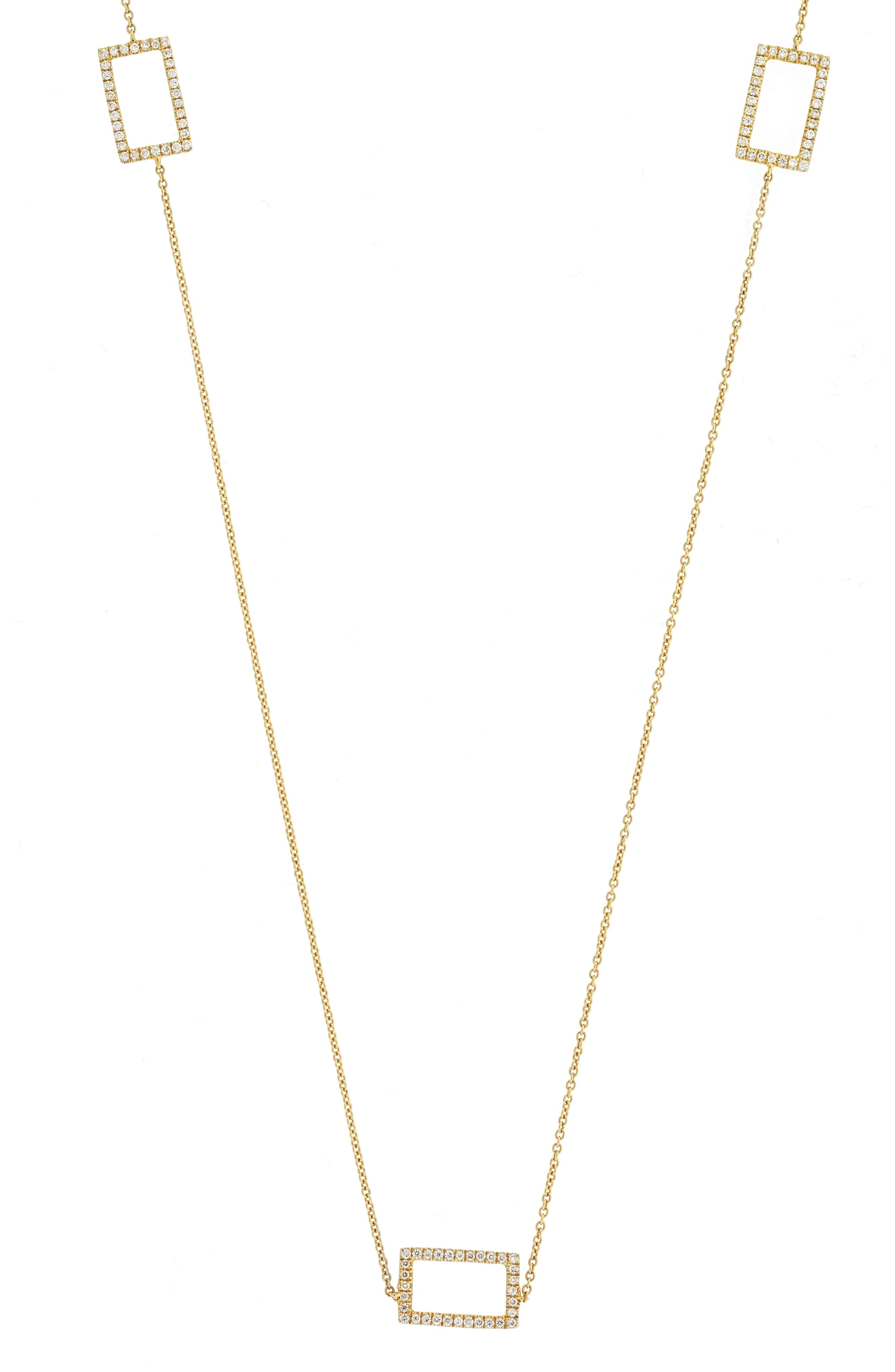 Three Rectangle Diamond Station Necklace,                             Alternate thumbnail 3, color,                             YELLOW GOLD