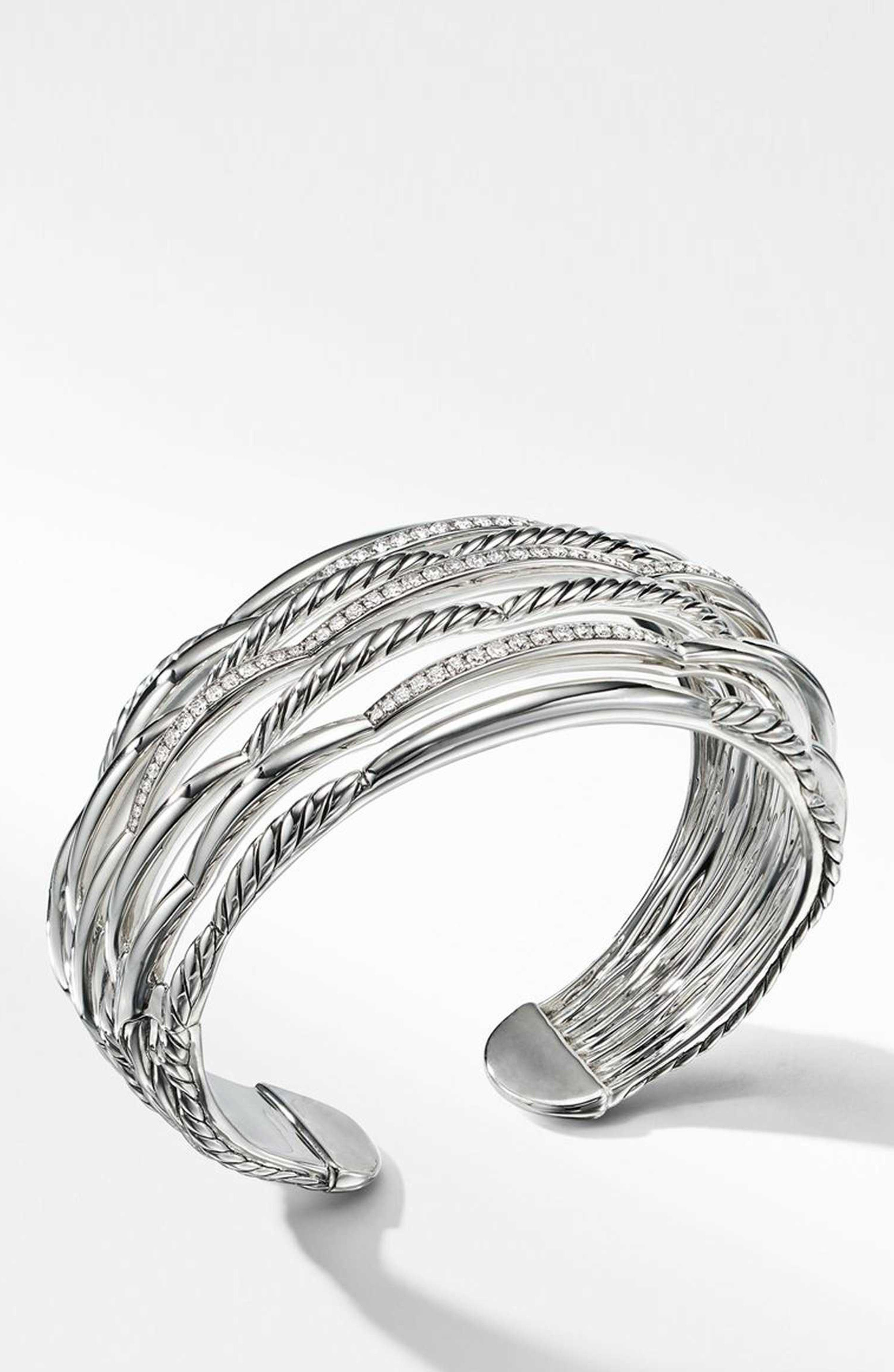 Wide Woven Cuff Bracelet with Diamonds,                             Alternate thumbnail 2, color,                             STERLING SILVER/ DIAMOND