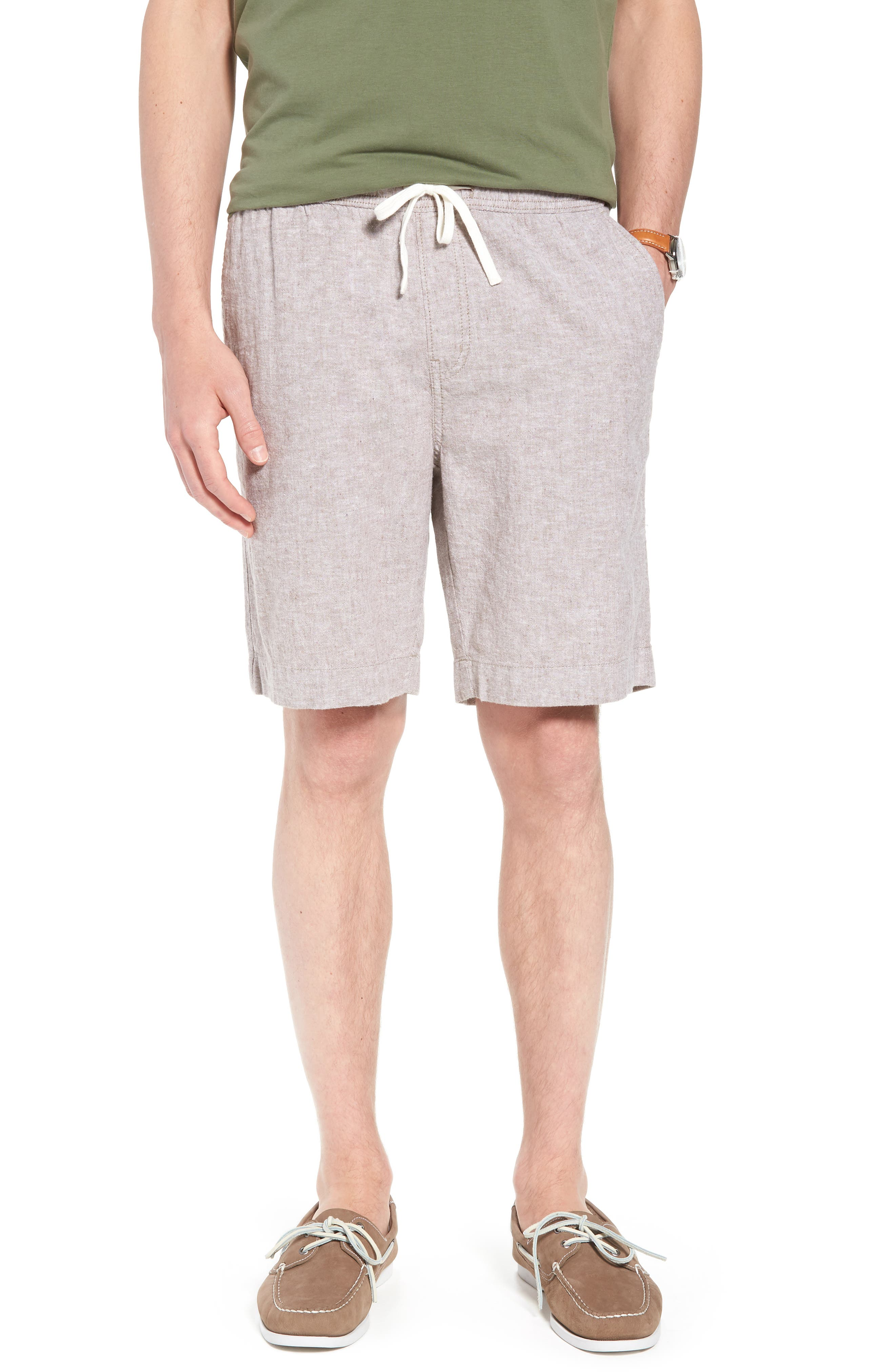 Drawstring Linen Blend Shorts,                         Main,                         color, 235