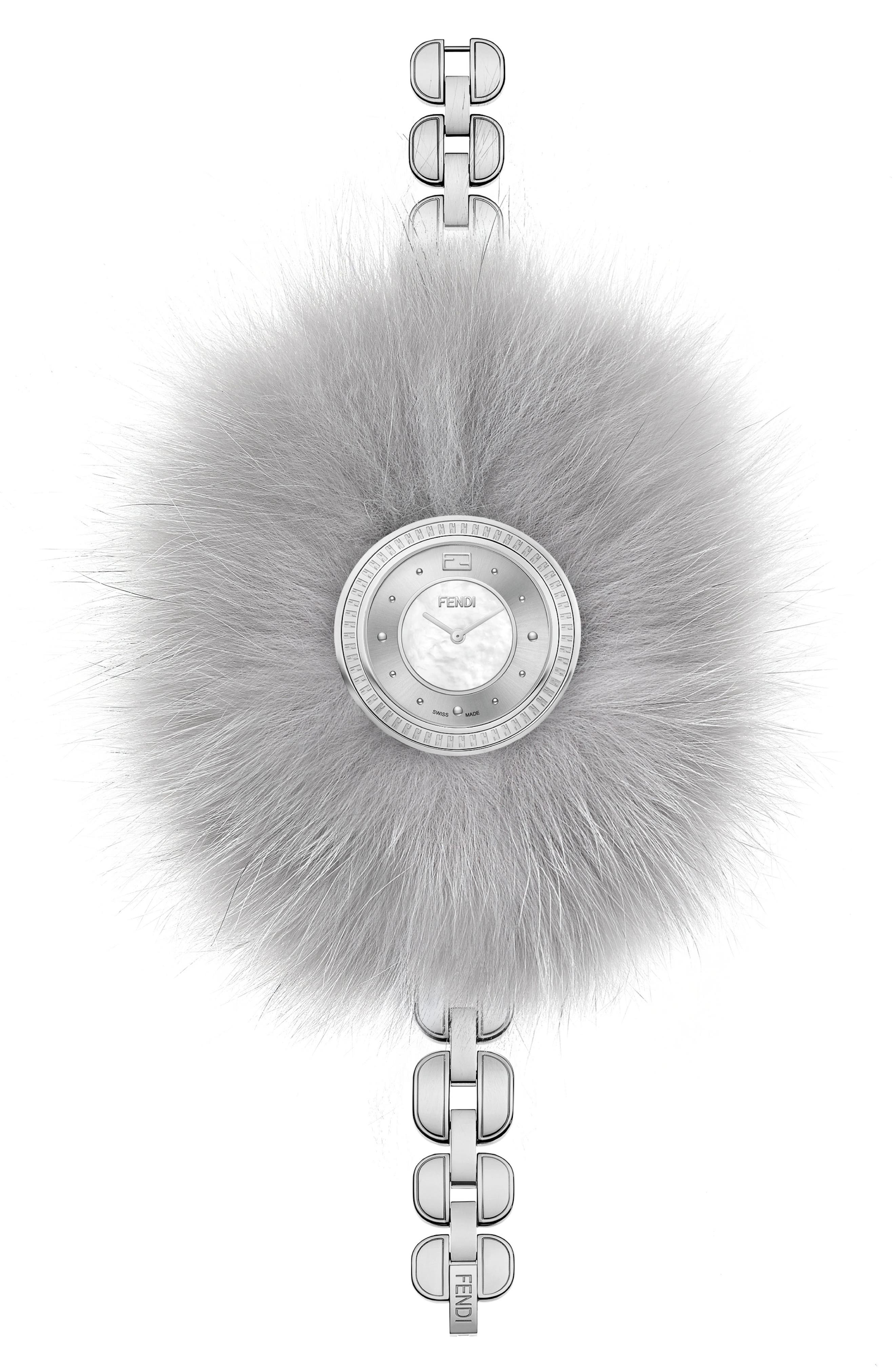 My Way Genuine Fox Fur Bracelet Watch, 36mm,                             Alternate thumbnail 2, color,                             WHITE/ SILVER/ GREY