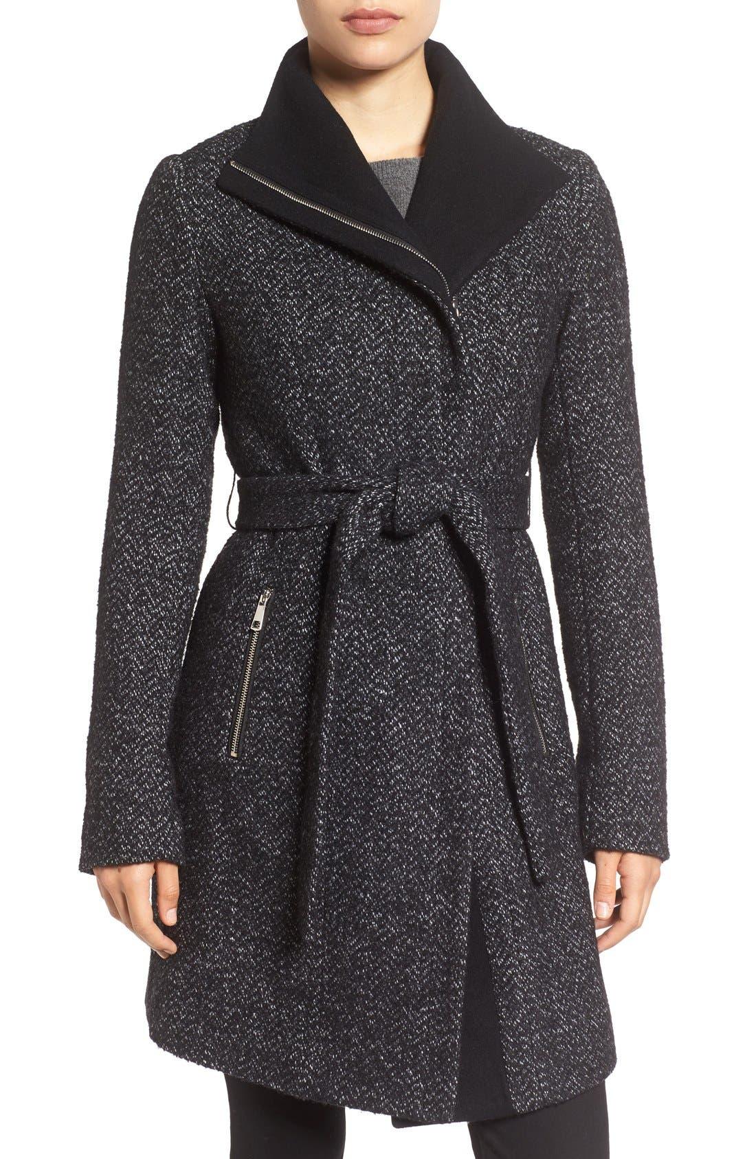'Eva' Belted Tweed Jacket,                             Main thumbnail 1, color,                             008