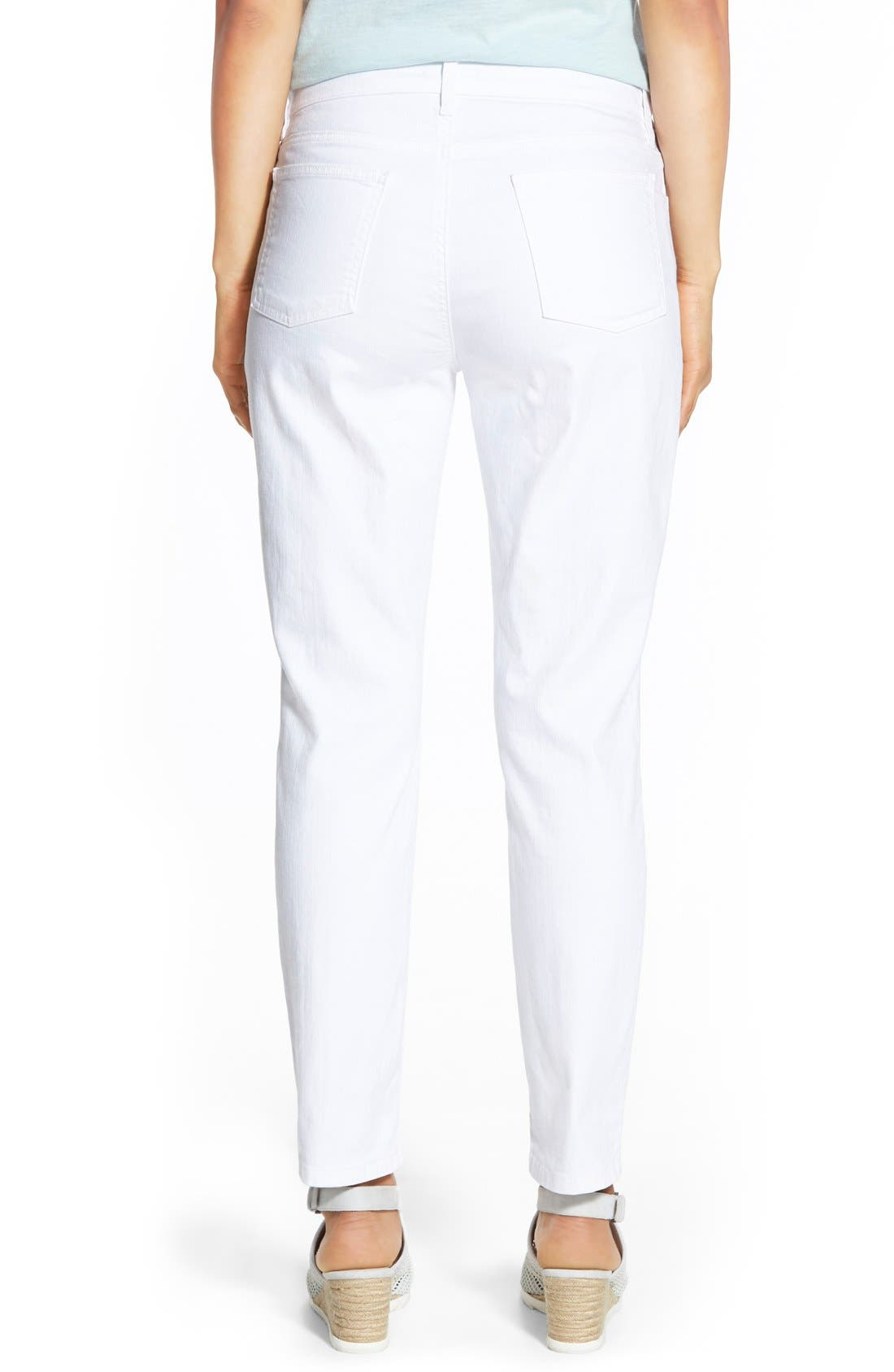 Garment Dyed Stretch Ankle Skinny Jeans,                             Alternate thumbnail 4, color,                             WHITE