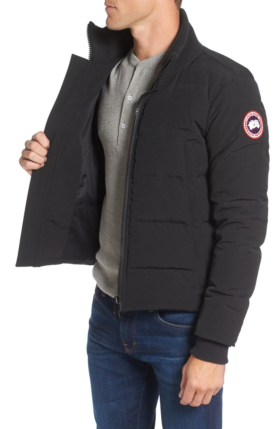 'Woolford' Slim Fit Down Bomber Jacket,                             Alternate thumbnail 7, color,                             BLACK