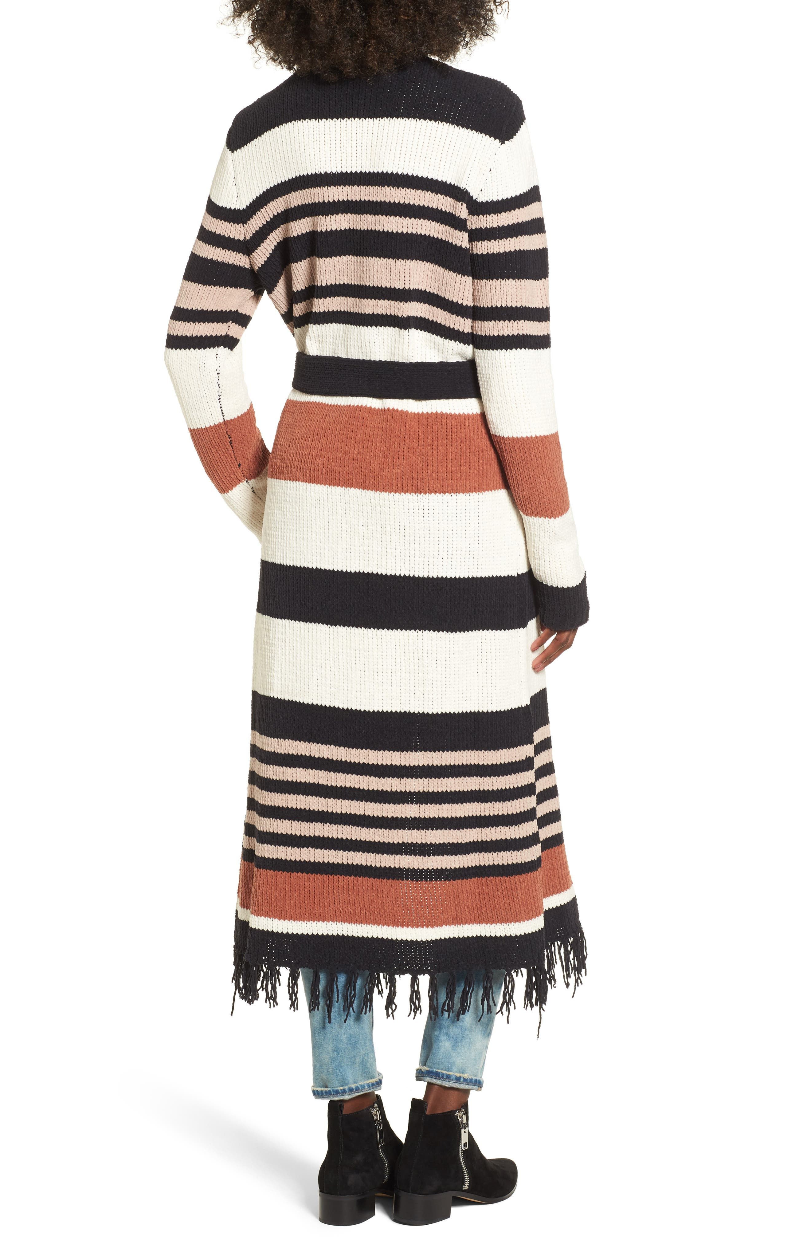 Belted Stripe Knit Duster,                             Alternate thumbnail 2, color,                             004