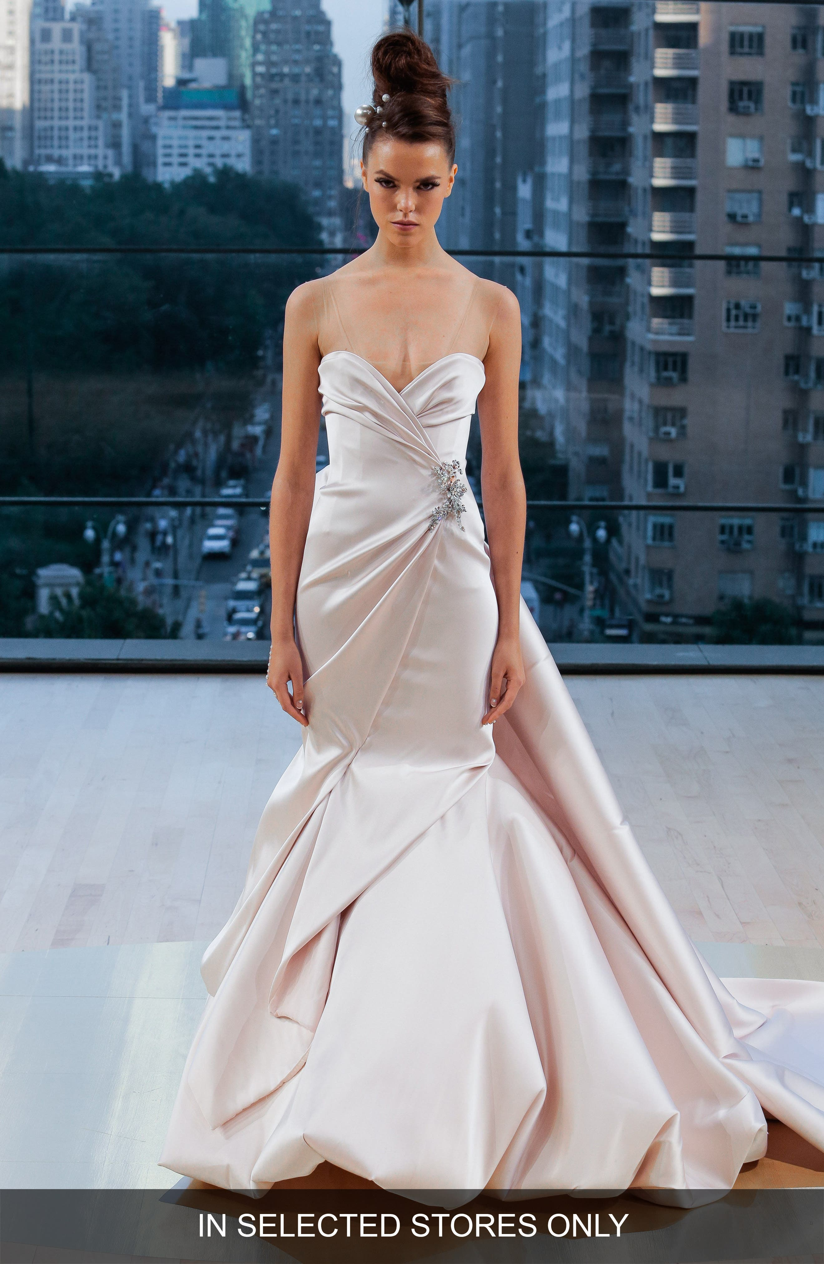 Wythe Illusion Sweetheart Silk Mermaid Gown,                         Main,                         color, BLUSH