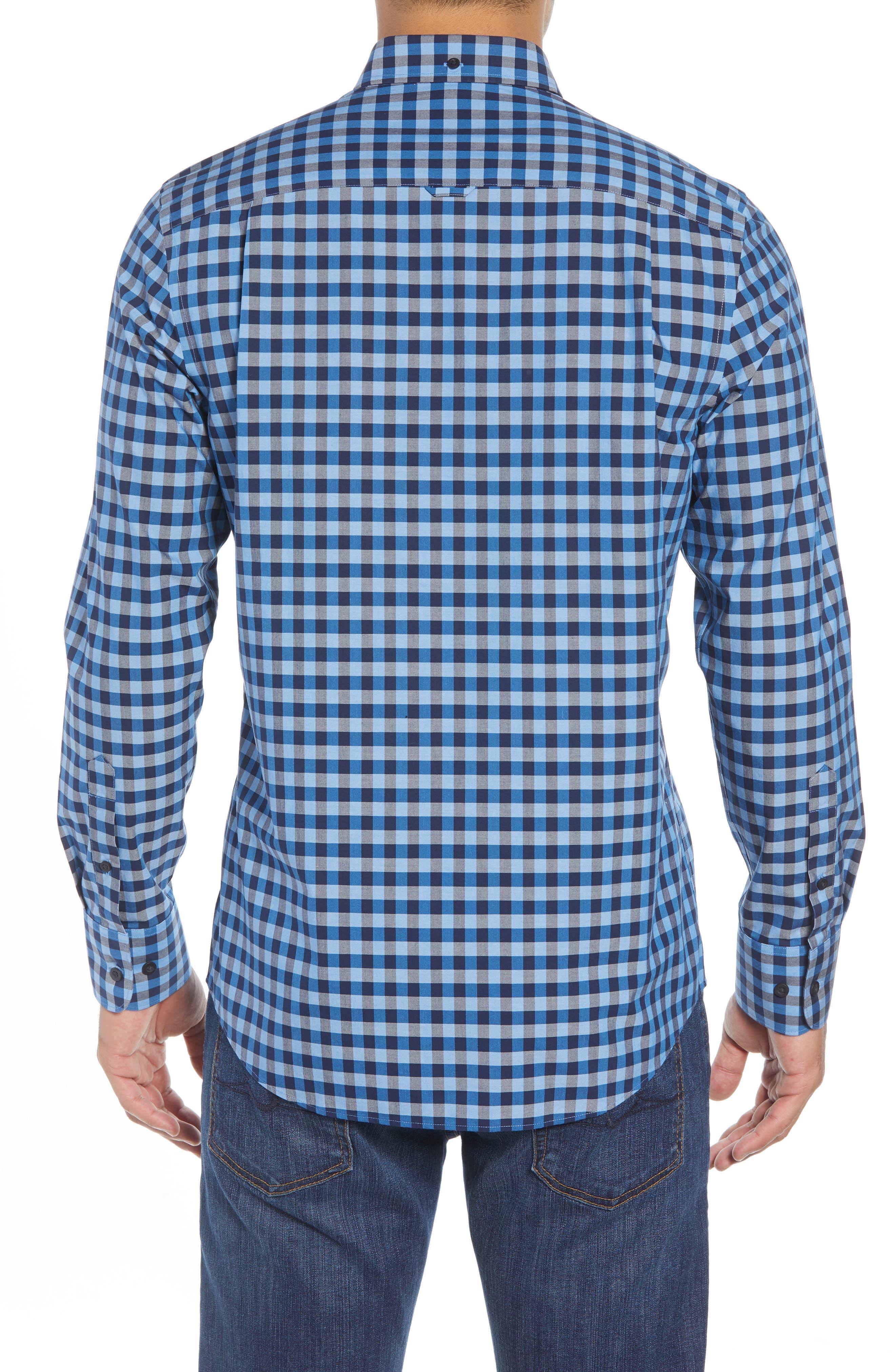 Smartcare<sup>™</sup> Regular Fit Gingham Sport Shirt,                             Alternate thumbnail 2, color,                             BLUE CAMP NAVY GINGHAM