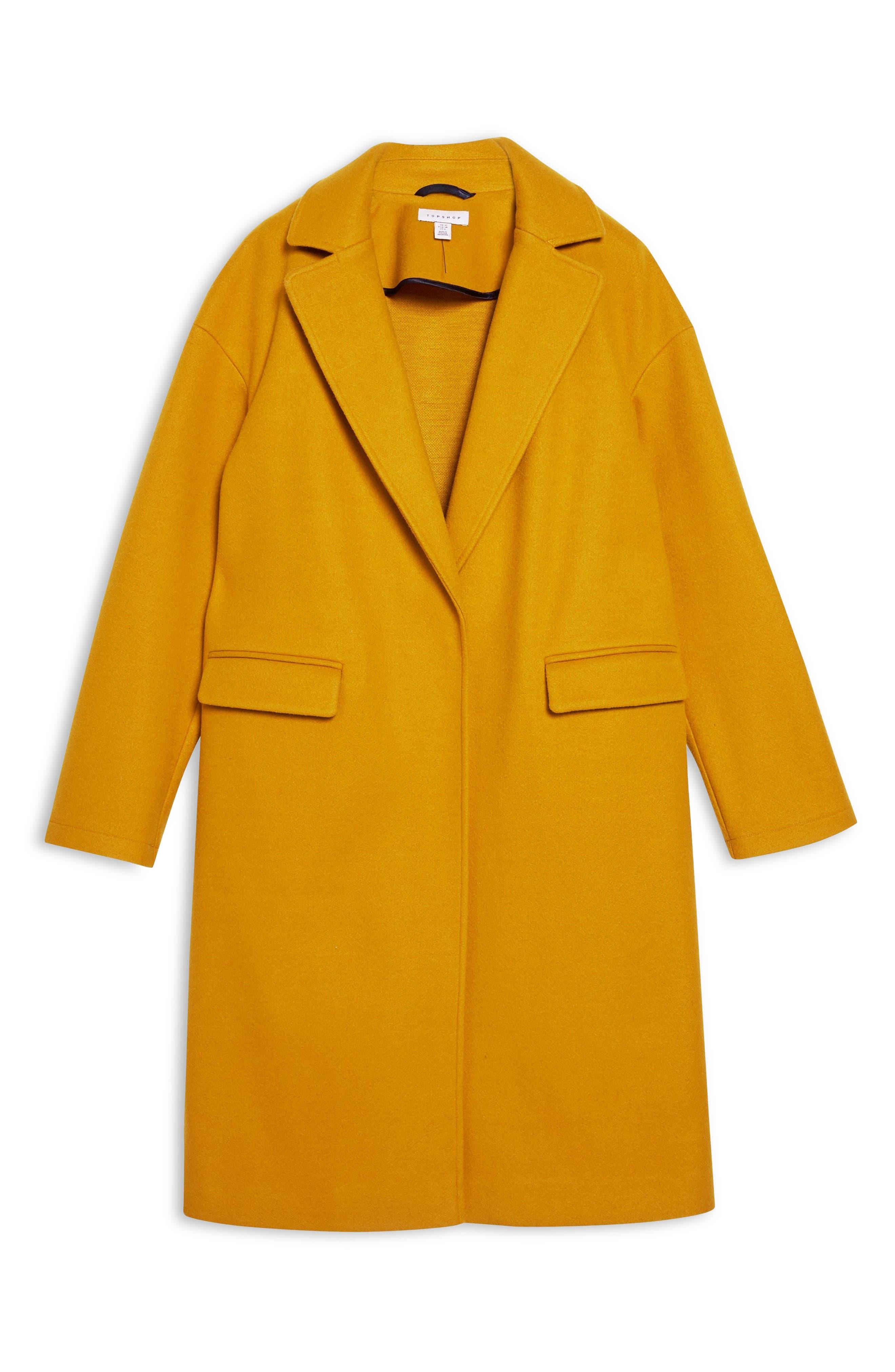 Lily Knit Back Midi Coat,                             Alternate thumbnail 4, color,                             MUSTARD
