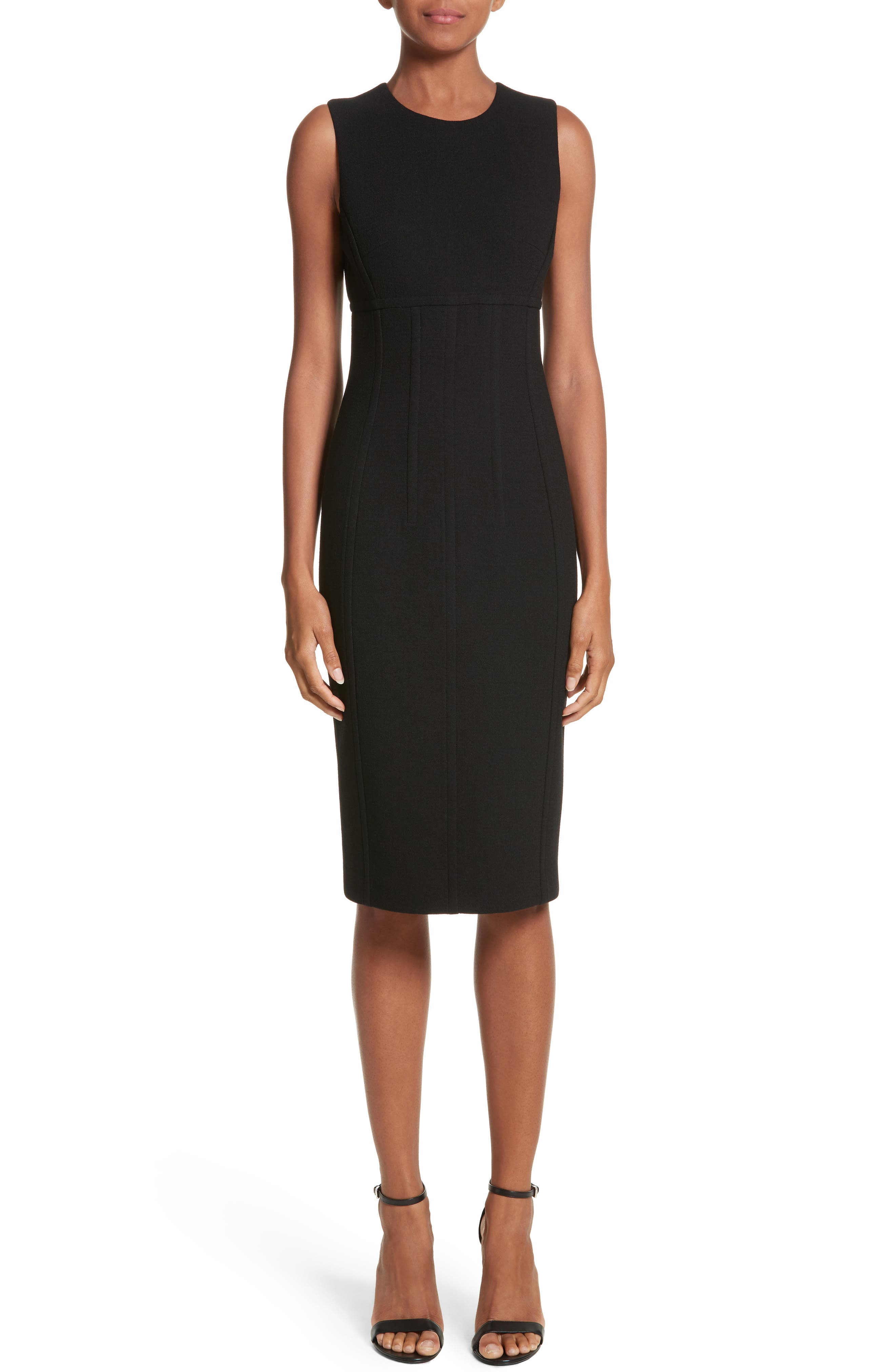 Stretch Bouclé Crepe Sheath Dress,                             Main thumbnail 1, color,                             001