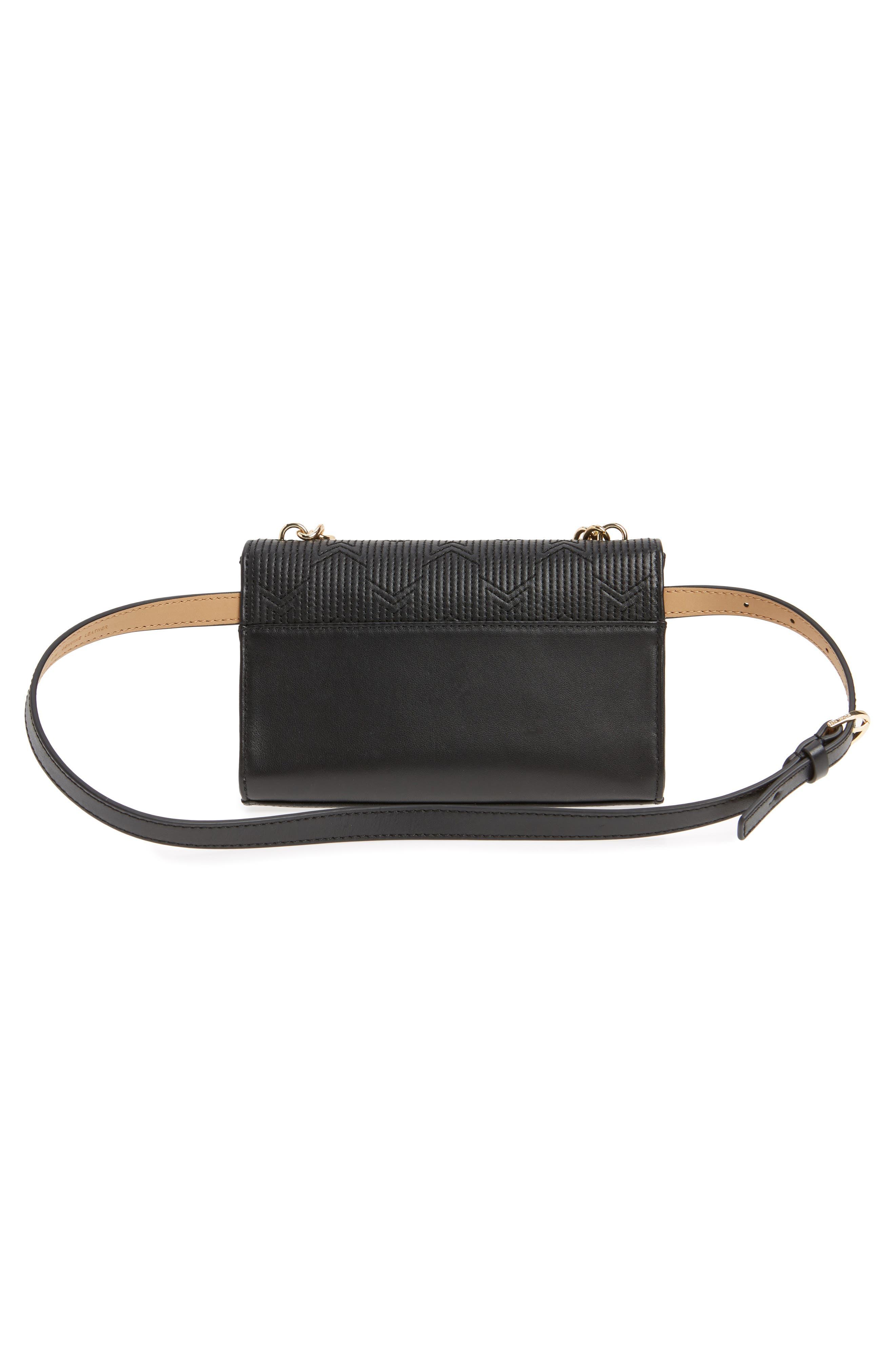 Deco M Quilted Leather Belt Bag,                             Alternate thumbnail 4, color,                             BLACK