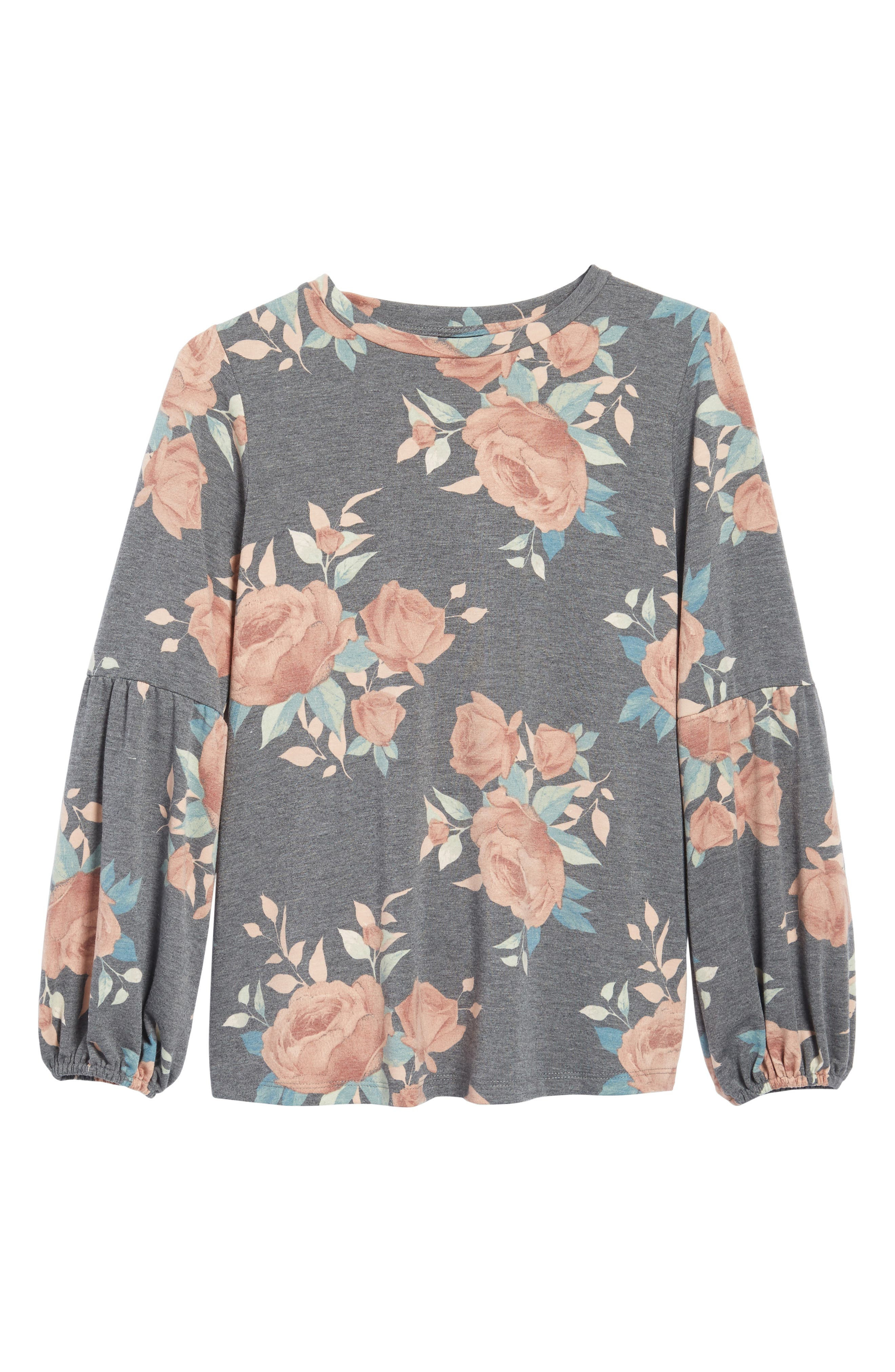 Floral Print Balloon Sleeve Sweatshirt,                             Alternate thumbnail 22, color,