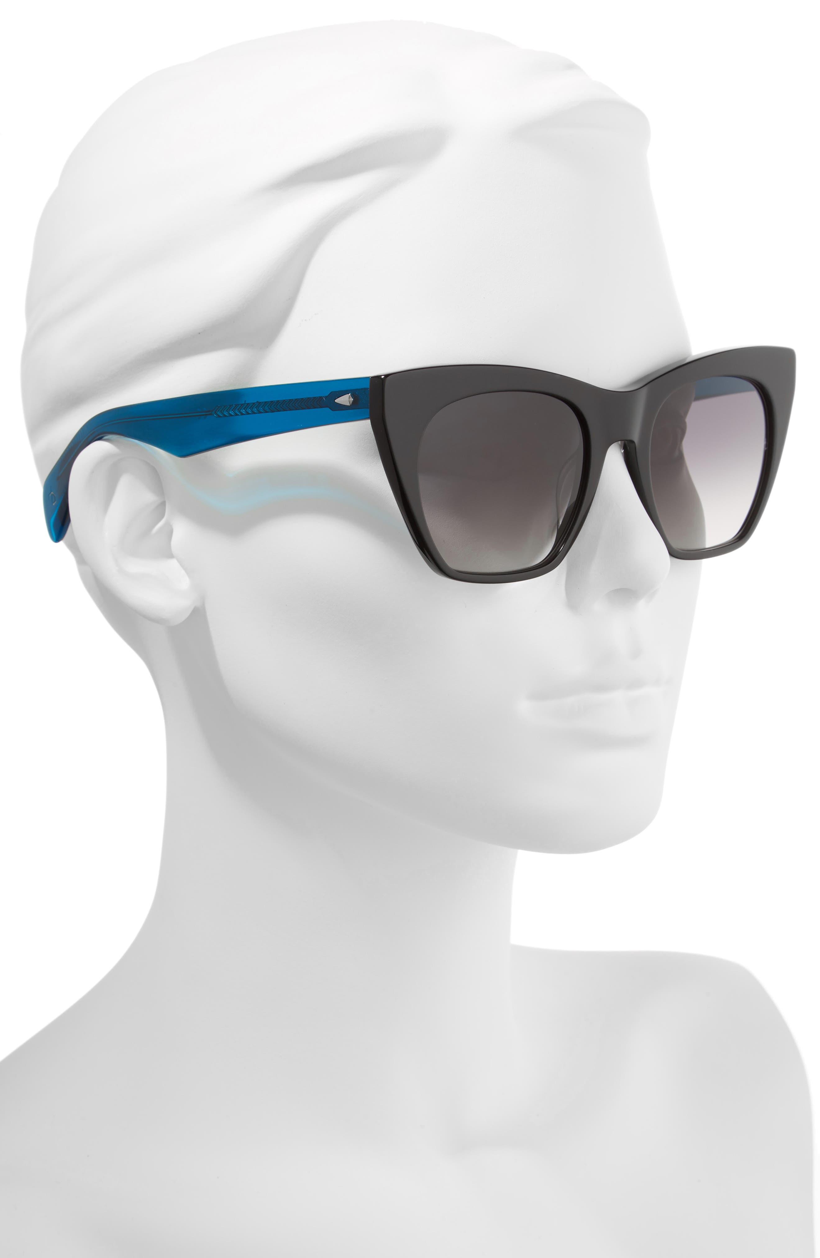 52mm Cat Eye Sunglasses,                             Alternate thumbnail 2, color,                             BLACK/ BLUE
