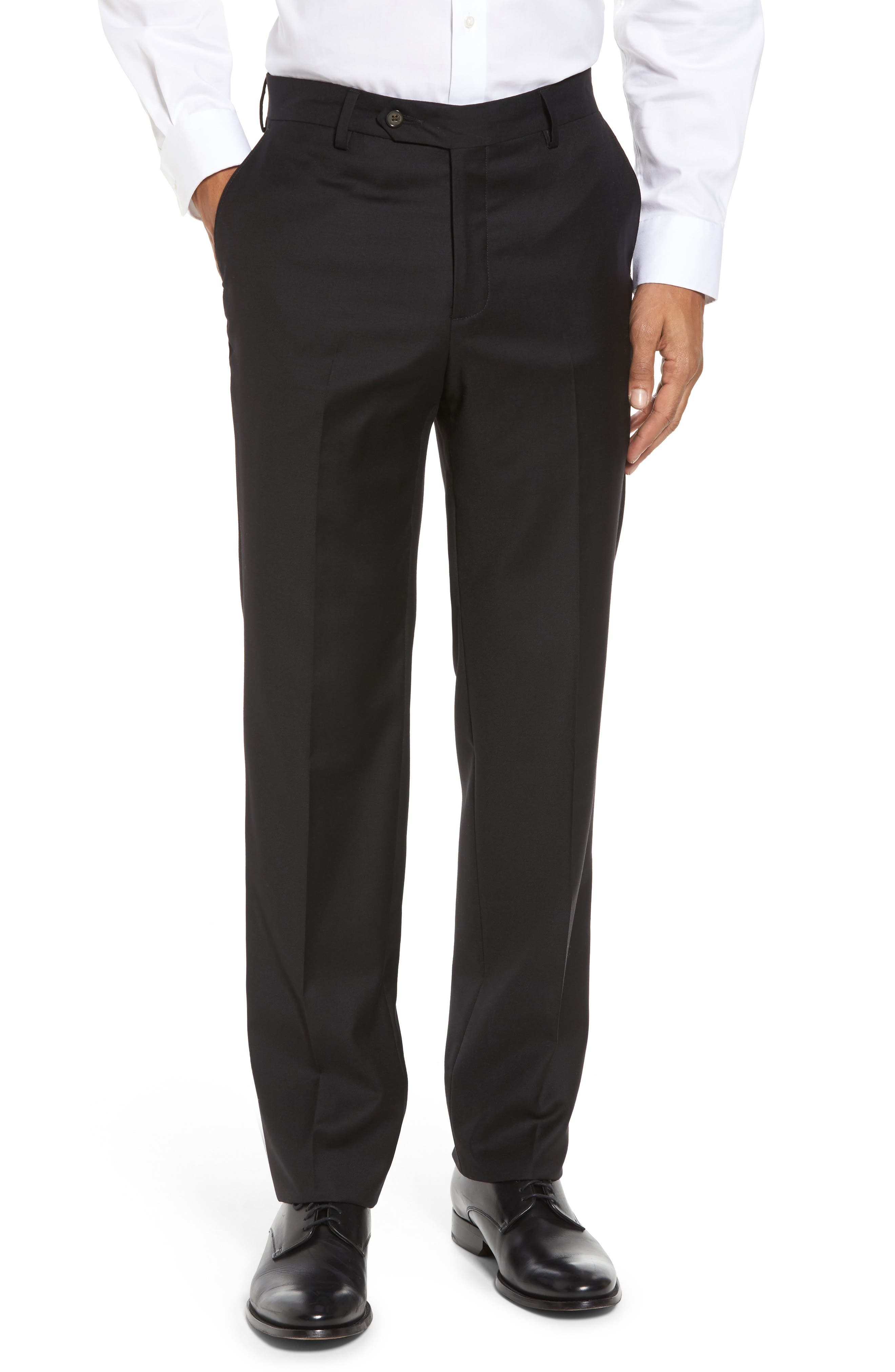 Flat Front Stretch Solid Wool Trousers,                         Main,                         color, 001