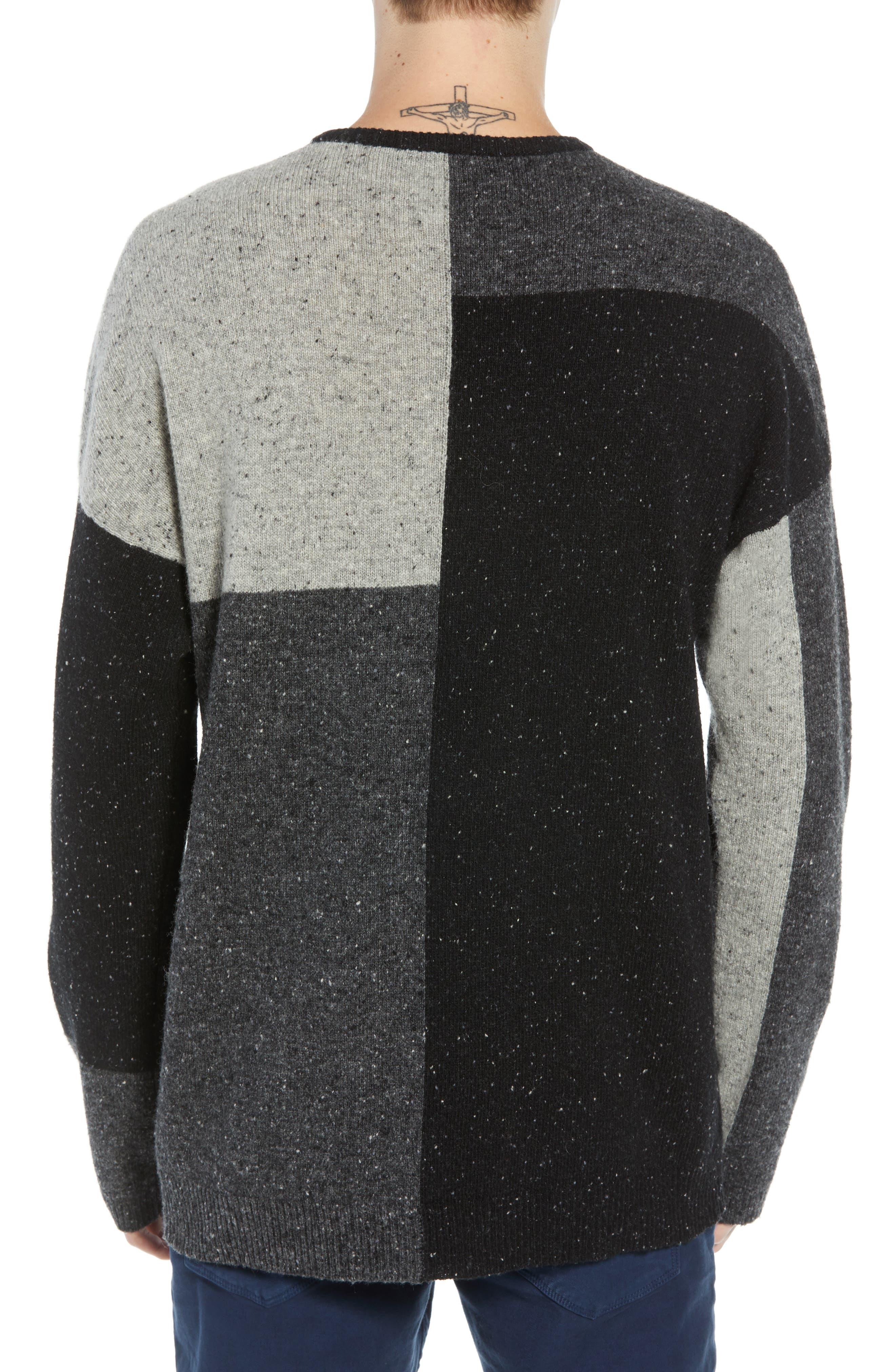 Patchwork Donegal Wool Blend Sweater,                             Alternate thumbnail 2, color,                             LIGHT GREY MELANGE CHARCOAL