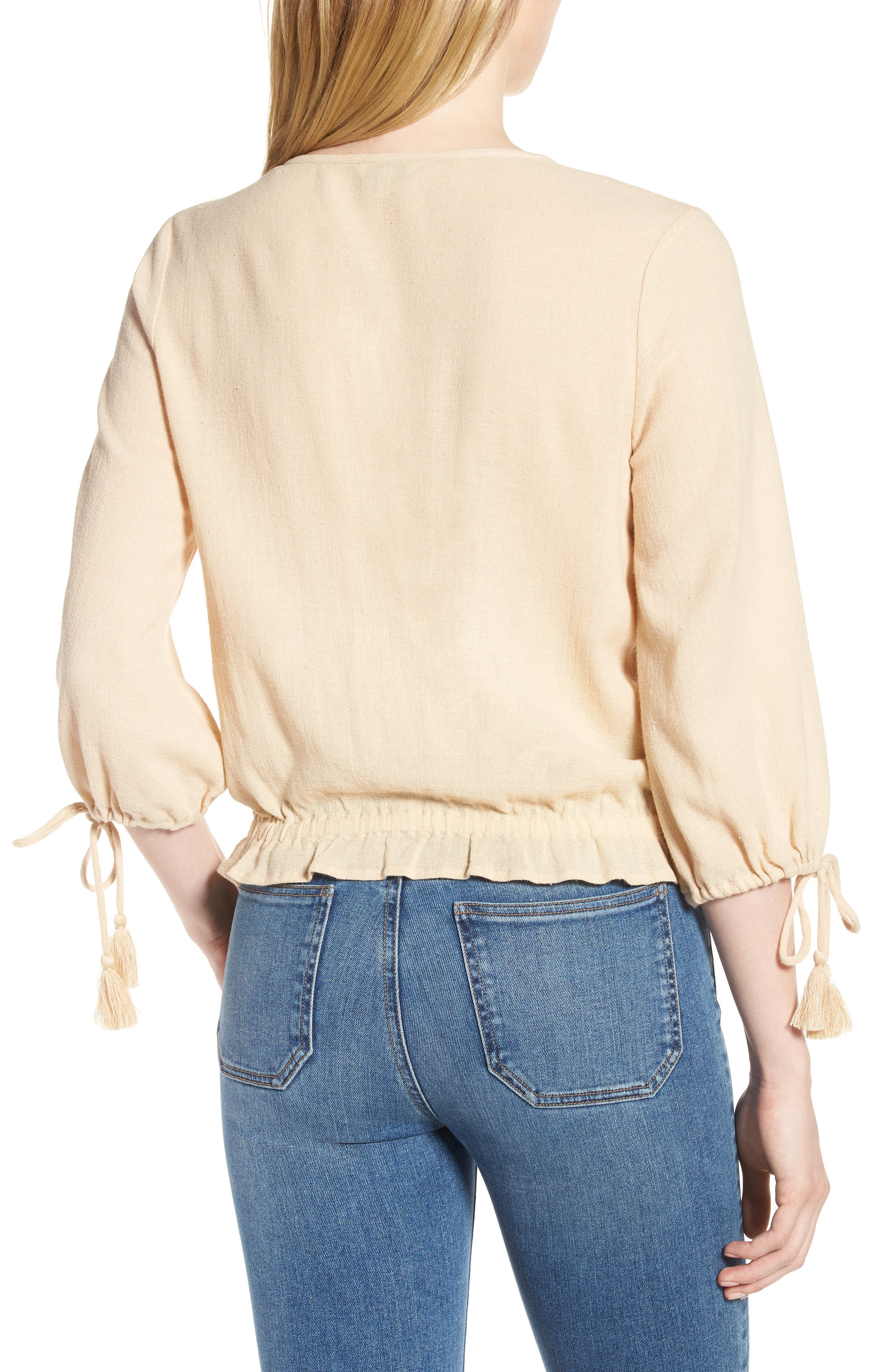 Embroidered Cotton Tassel Top,                             Alternate thumbnail 3, color,