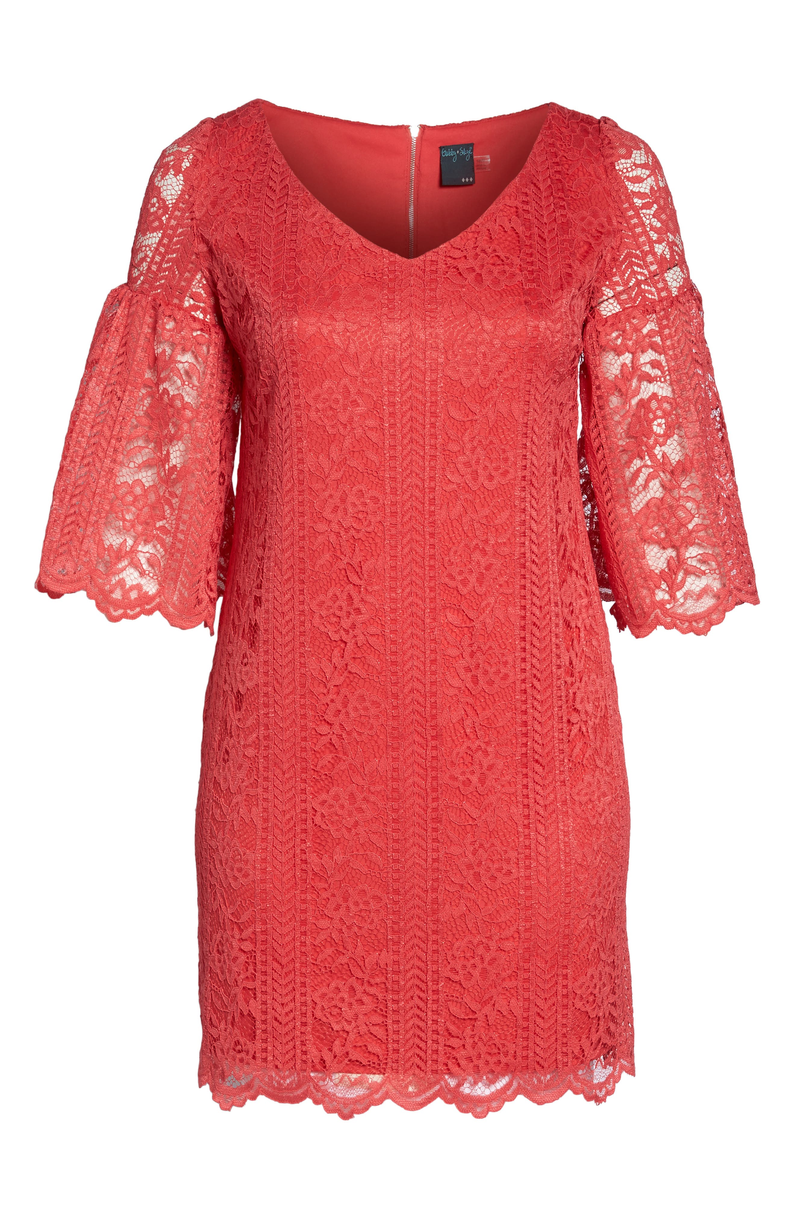 Bell Sleeve Lace Shift Dress,                             Alternate thumbnail 6, color,                             655