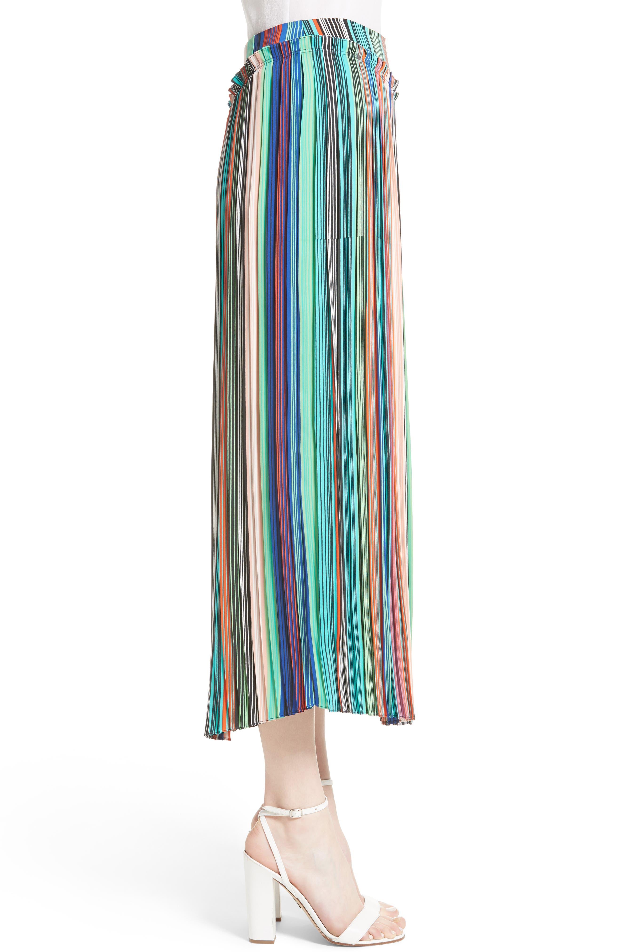 Stripe Asymmetrical Overlay Midi Skirt,                             Alternate thumbnail 3, color,                             207