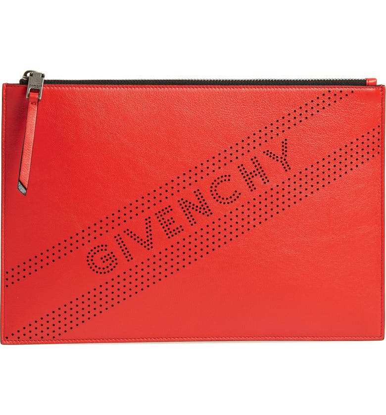 Givenchy Medium Perforated Logo Leather Pouch  614973d536a5e