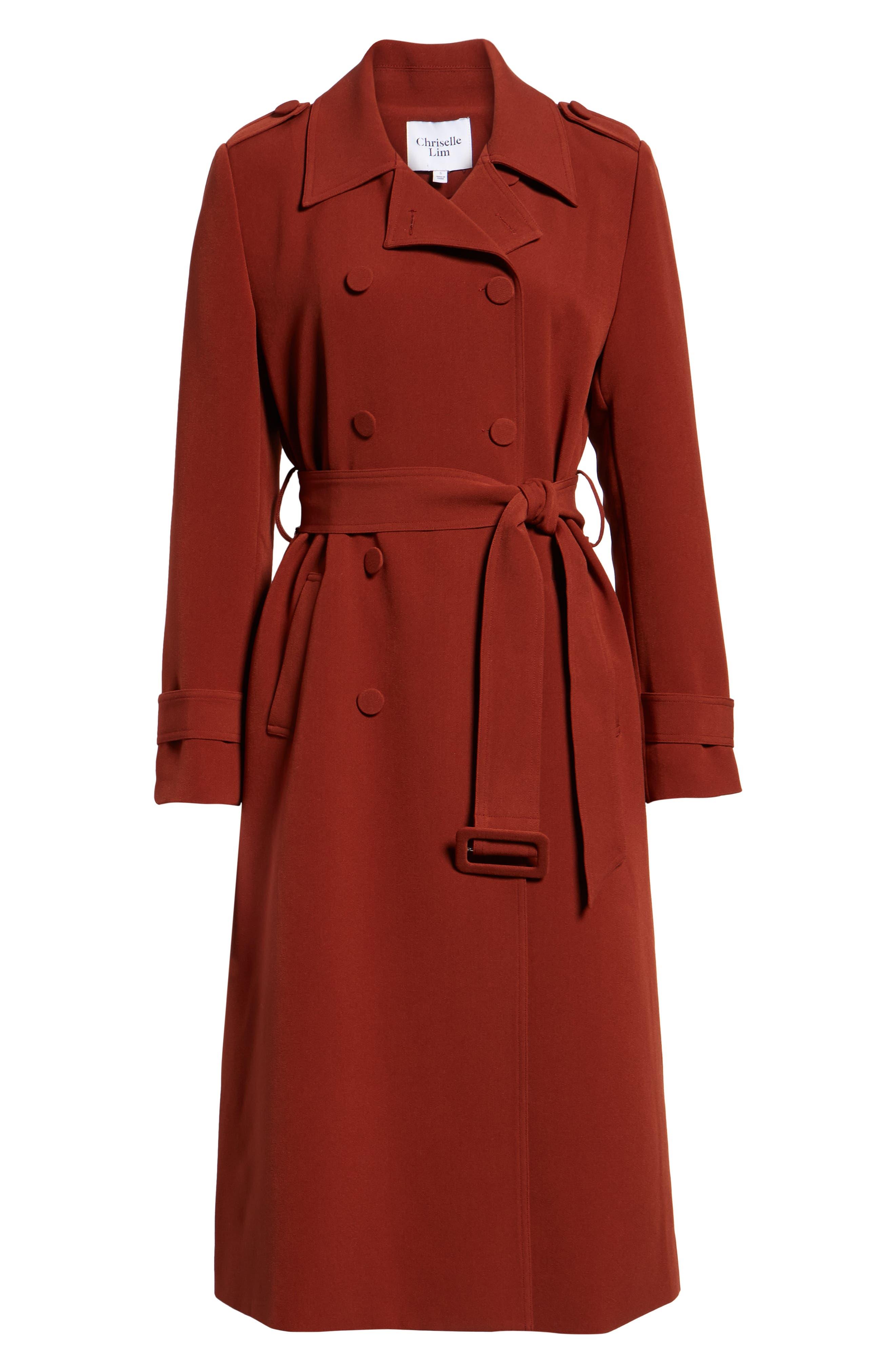 Chriselle Lim Chloe Trench Coat, Alternate, color, RUST