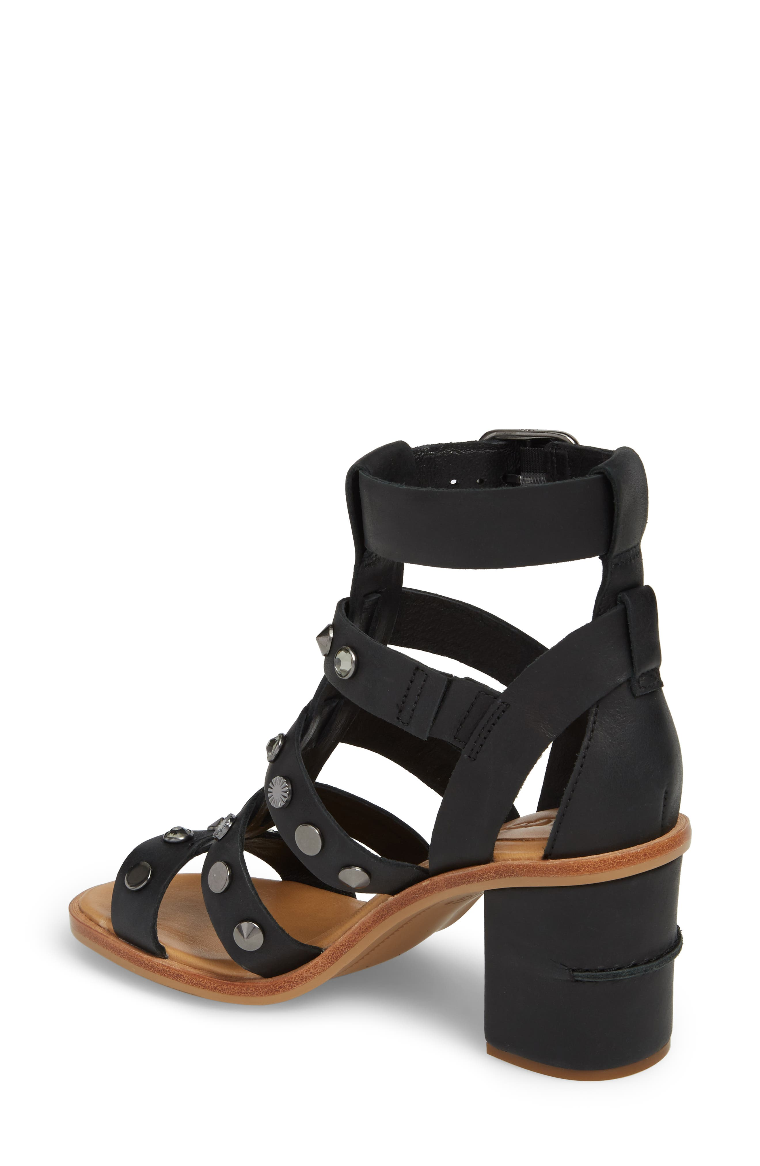 Macayla Studded Sandal,                             Alternate thumbnail 2, color,                             BLACK LEATHER