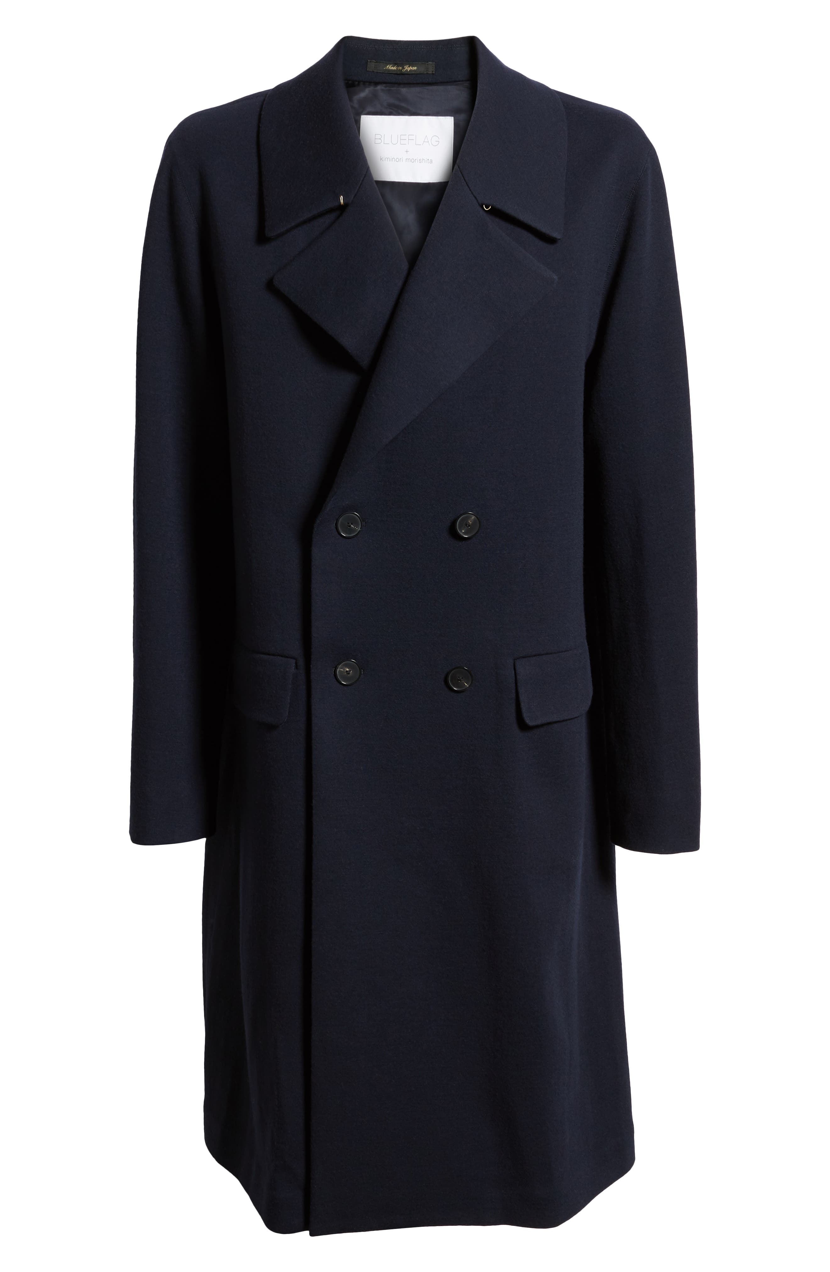 Wool Blend Chesterfield Coat,                             Alternate thumbnail 5, color,                             MIDNIGHT