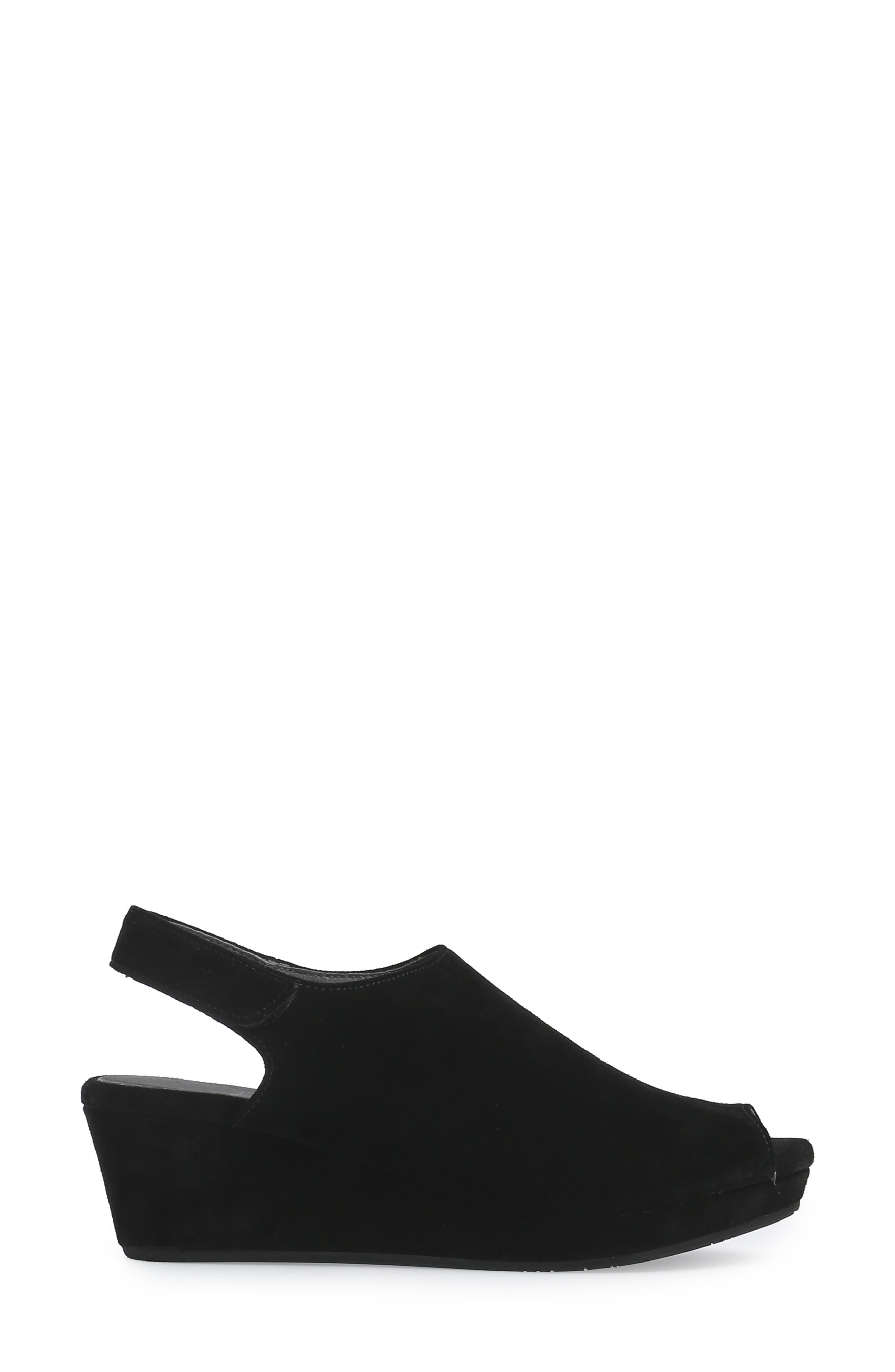 Yana Wedge Sandal,                             Alternate thumbnail 3, color,                             BLACK SUEDE
