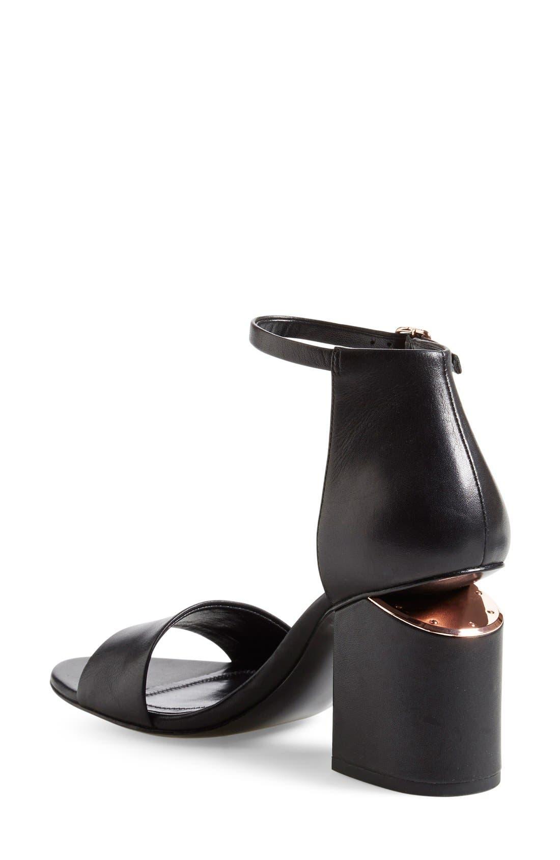 'Abby' Ankle Strap Sandal,                             Alternate thumbnail 6, color,                             BLACK