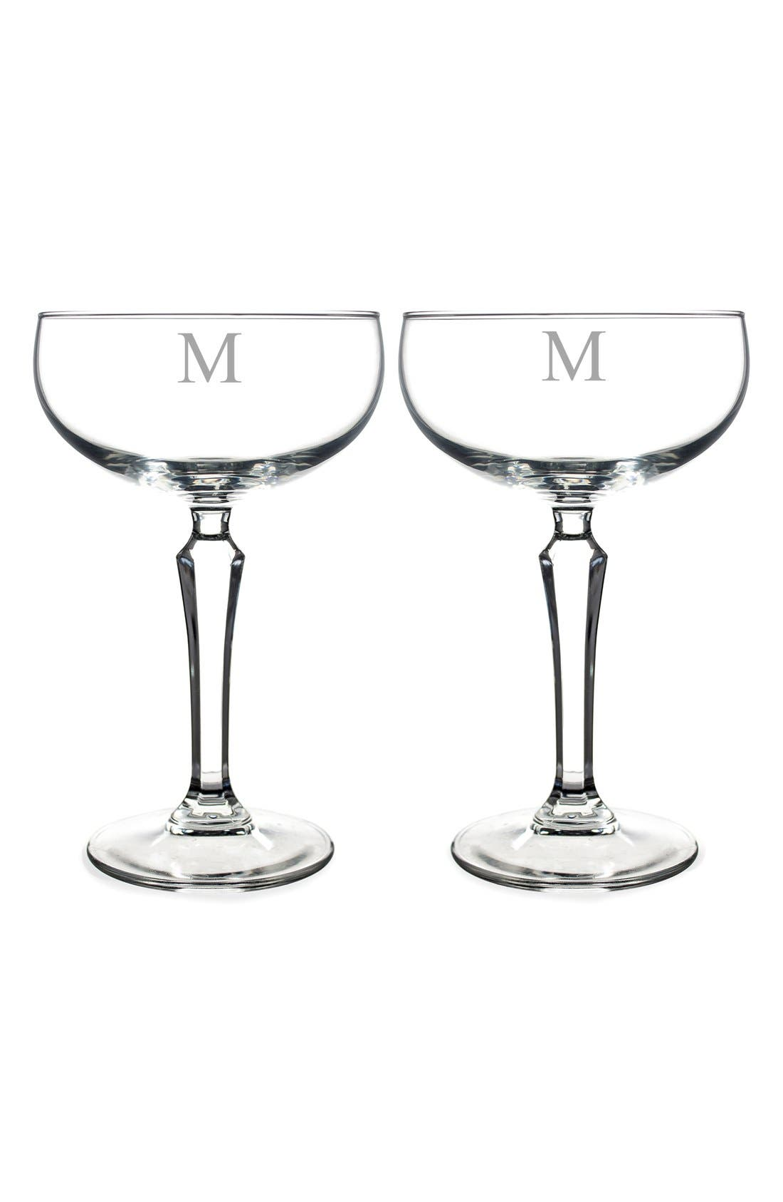 Monogram Coupe Cocktail/Champagne Glasses,                             Main thumbnail 15, color,