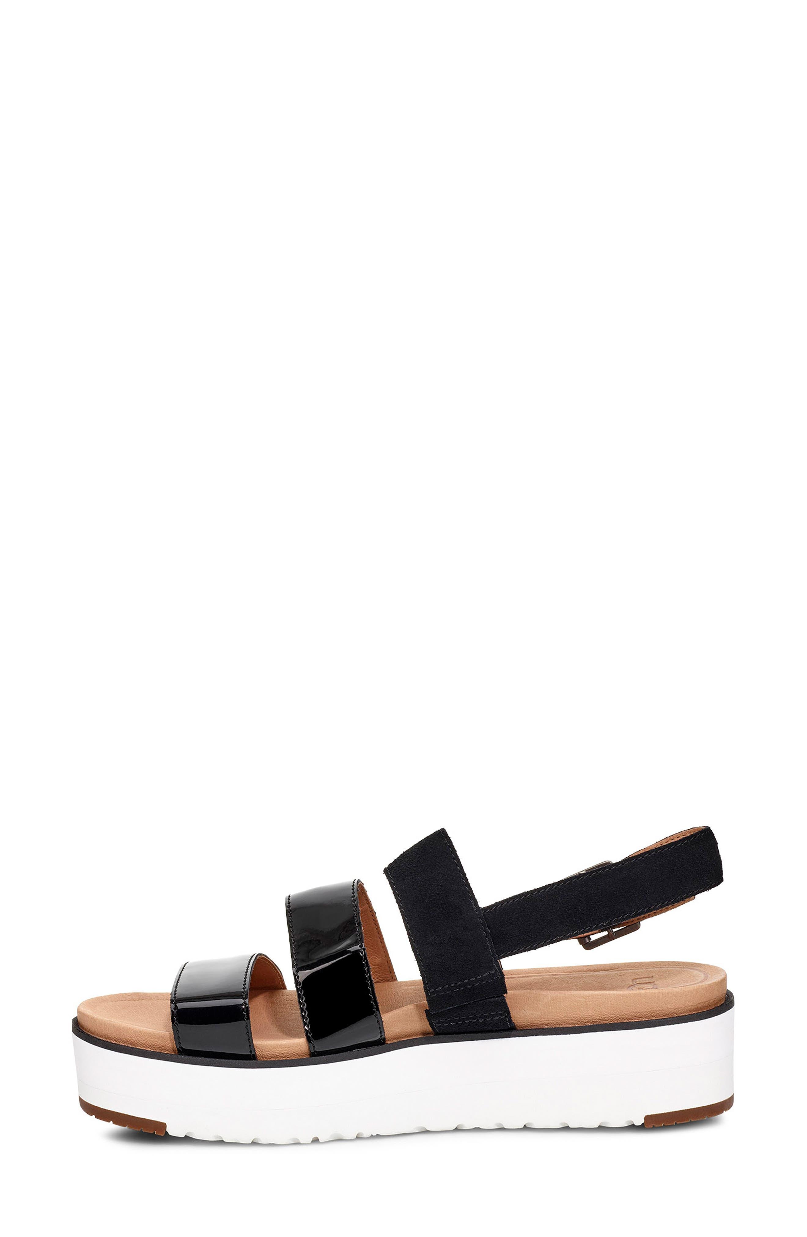 Braelynn Flatform Sandal,                             Alternate thumbnail 6, color,                             BLACK LEATHER