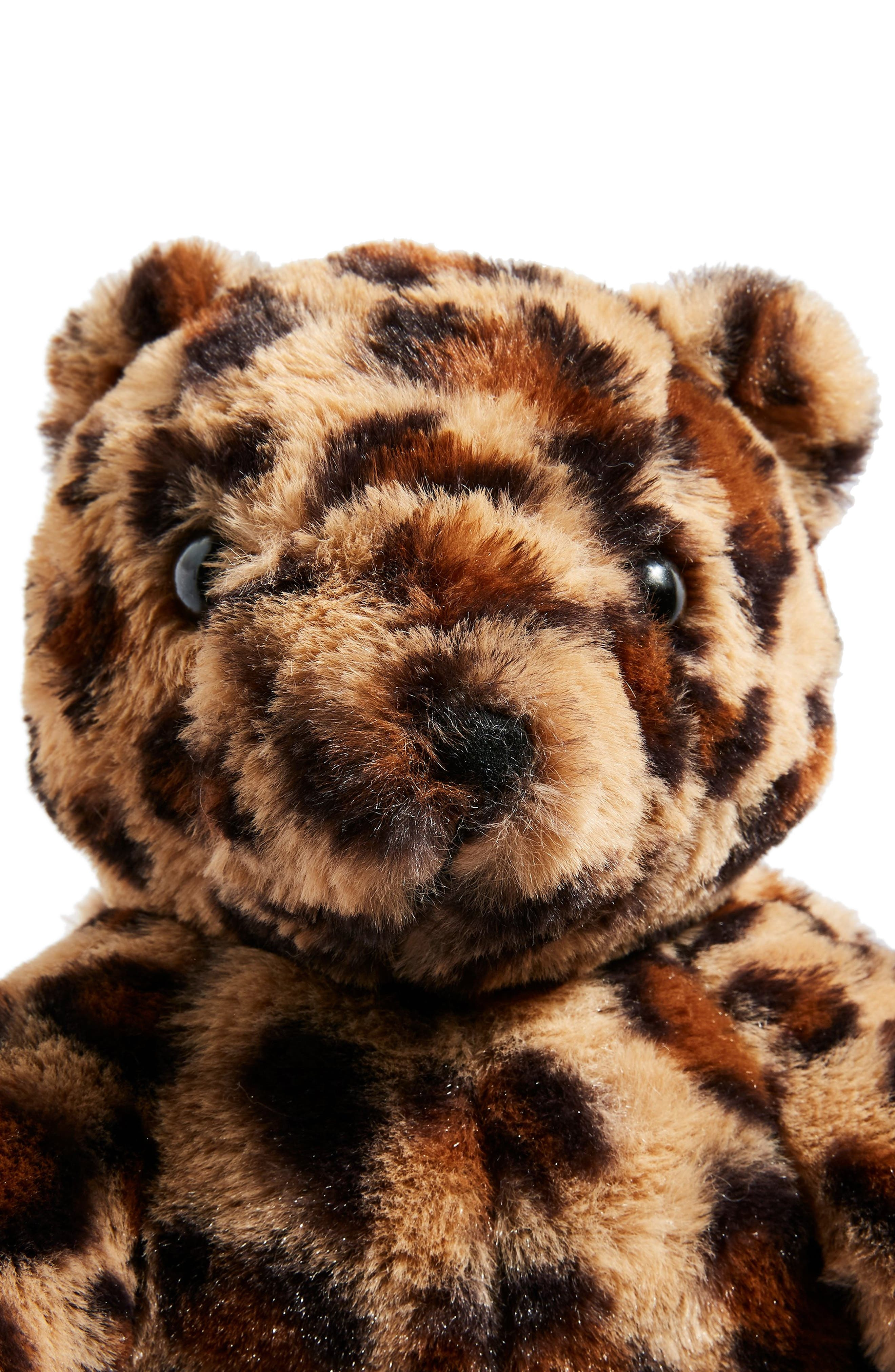Faux Fur Teddy Bear Backpack,                             Alternate thumbnail 4, color,                             LEOPARD