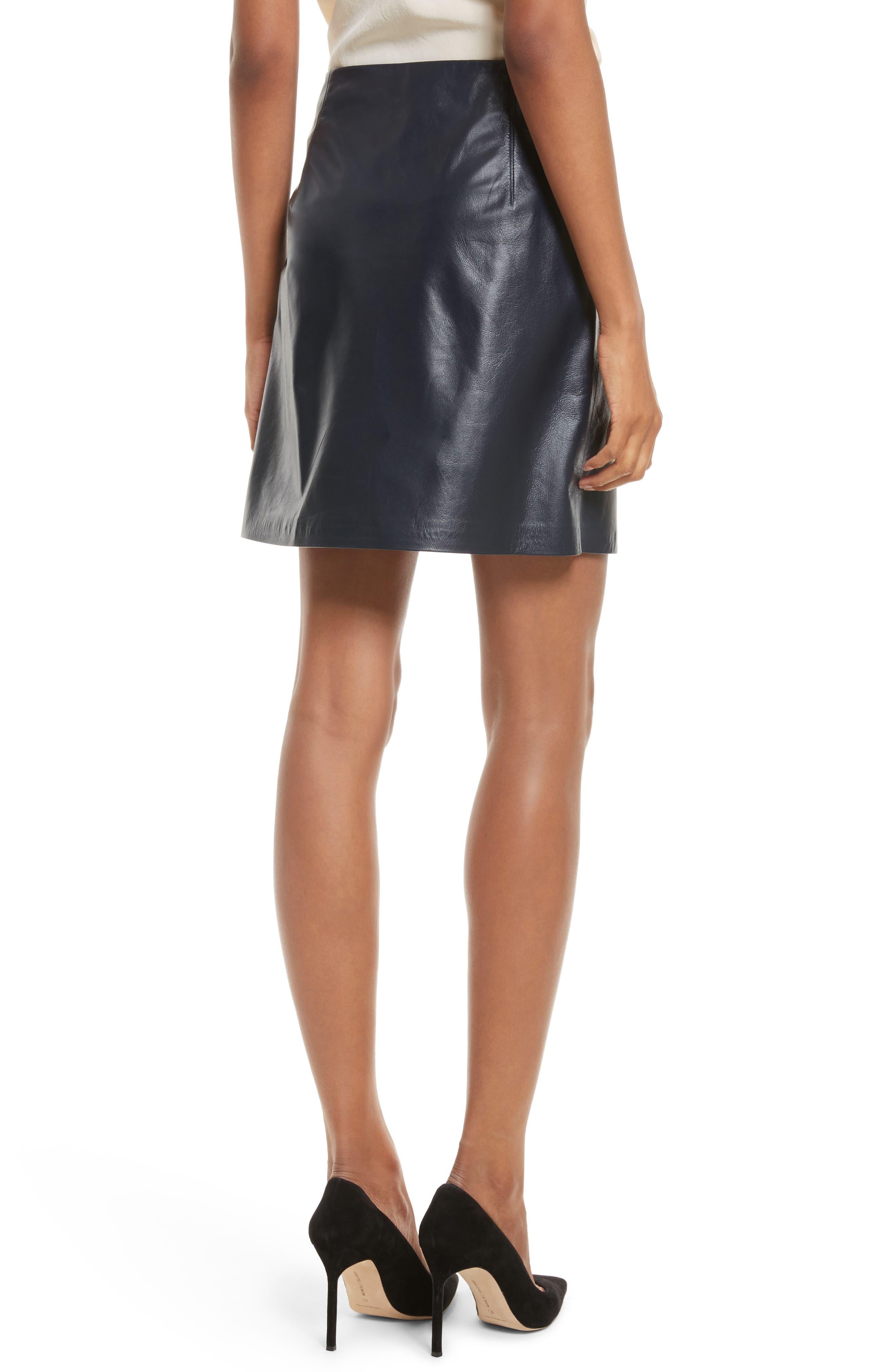 Micro Mini Paper Leather Skirt,                             Alternate thumbnail 2, color,                             410