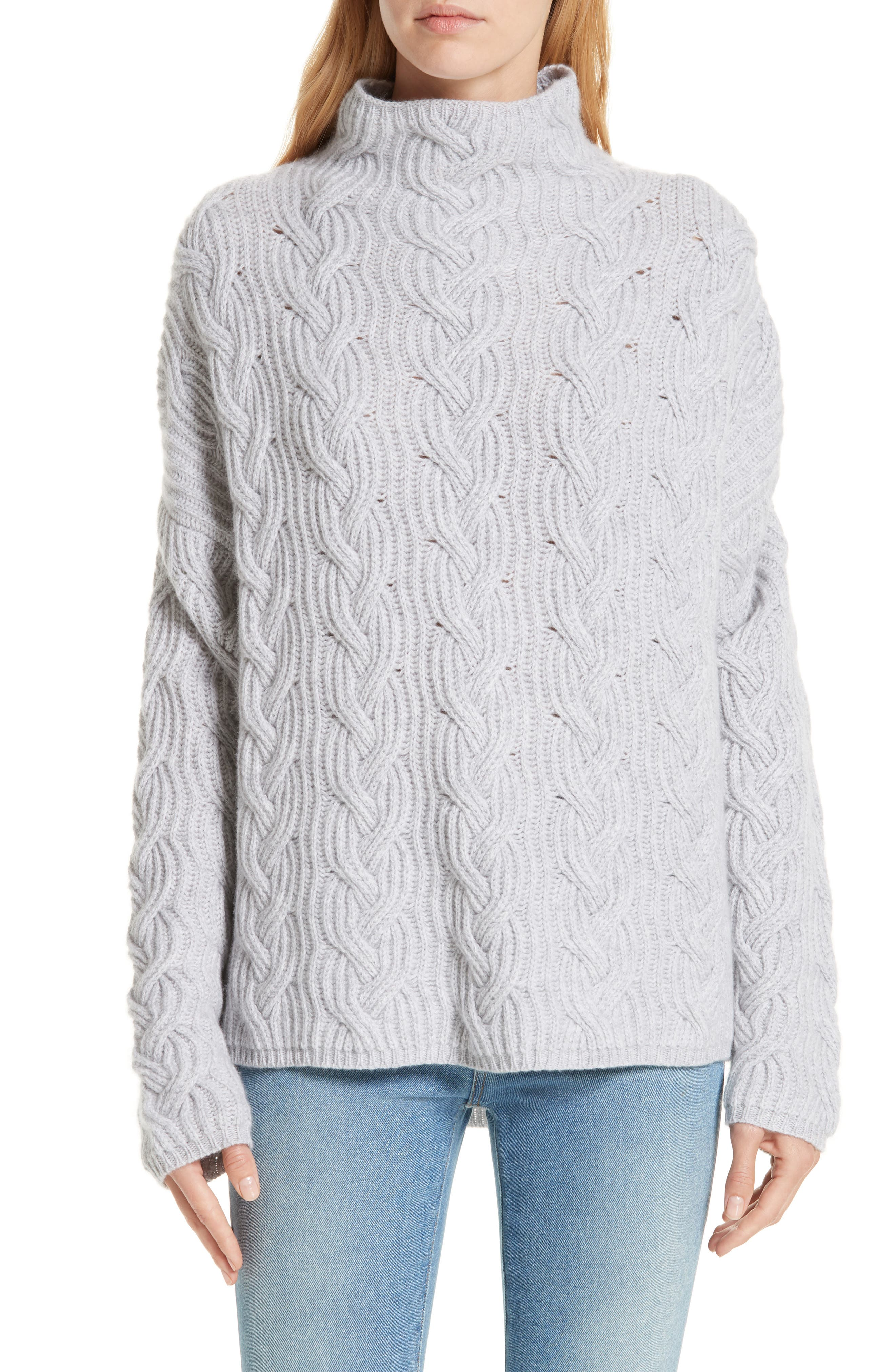 Cable Cashmere Knit Sweater,                             Main thumbnail 1, color,                             050