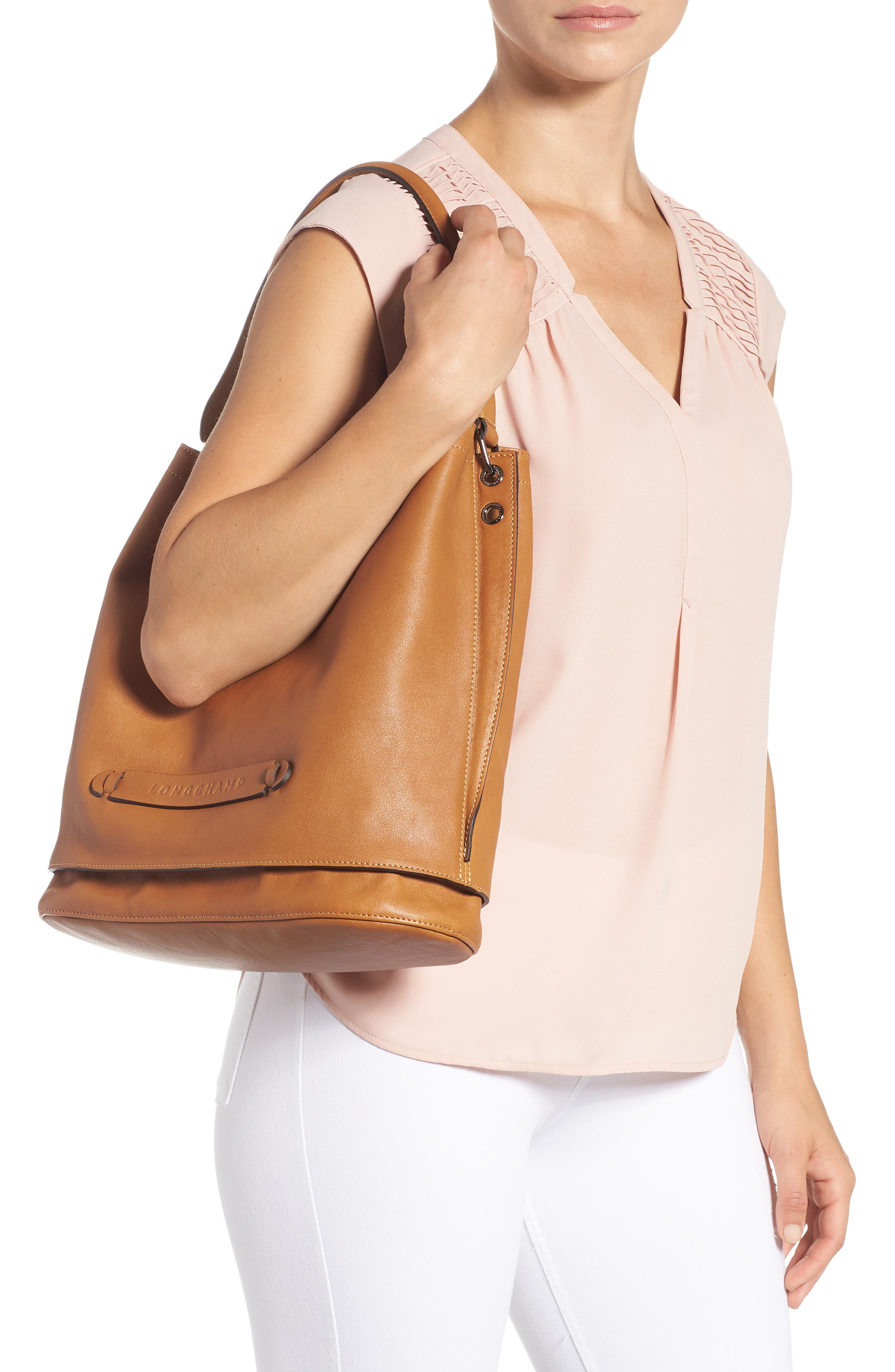 '3D' Leather Hobo,                             Alternate thumbnail 2, color,                             NATURAL
