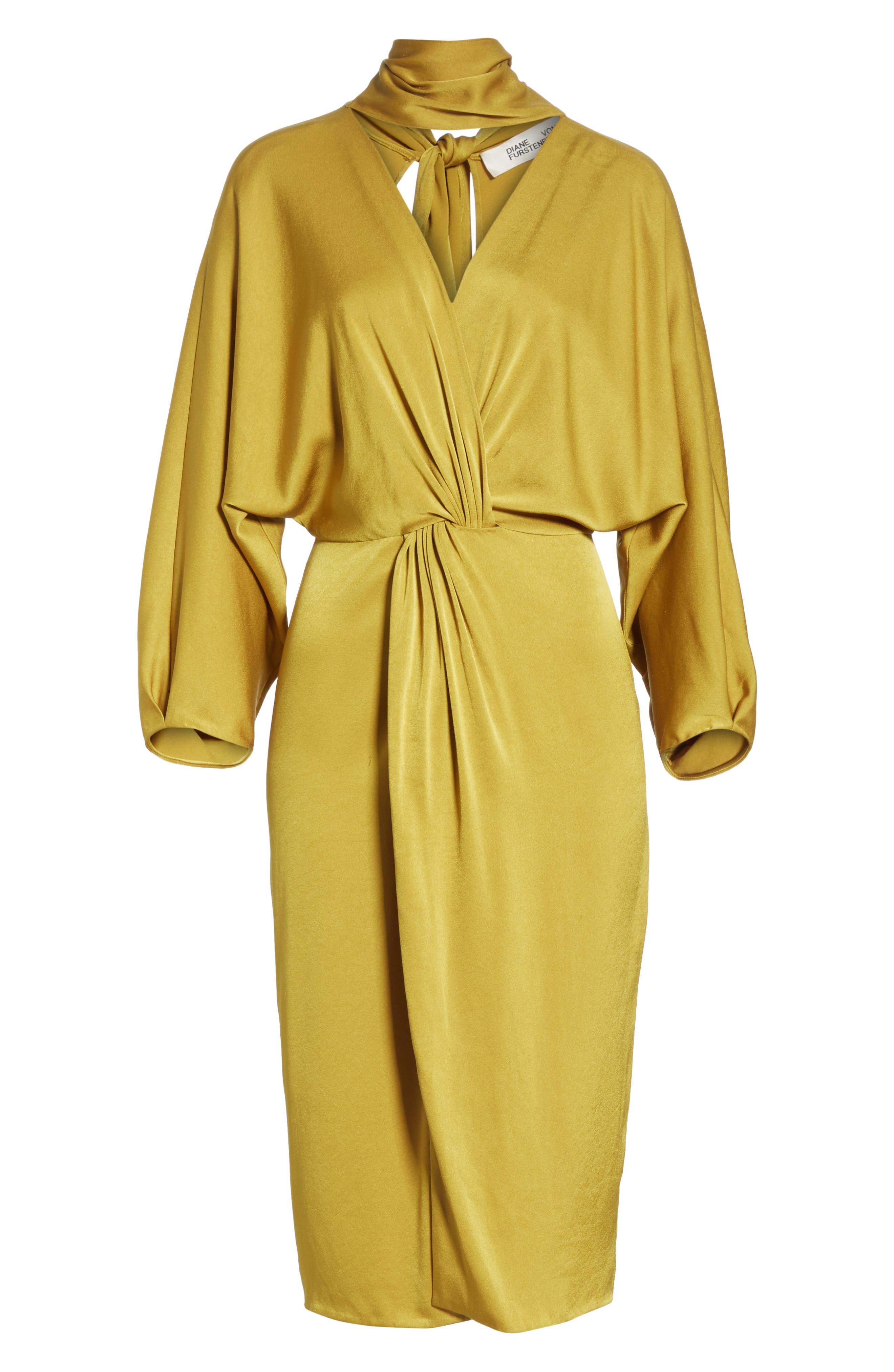 Twist Front Faux Wrap Dress,                             Alternate thumbnail 6, color,                             710