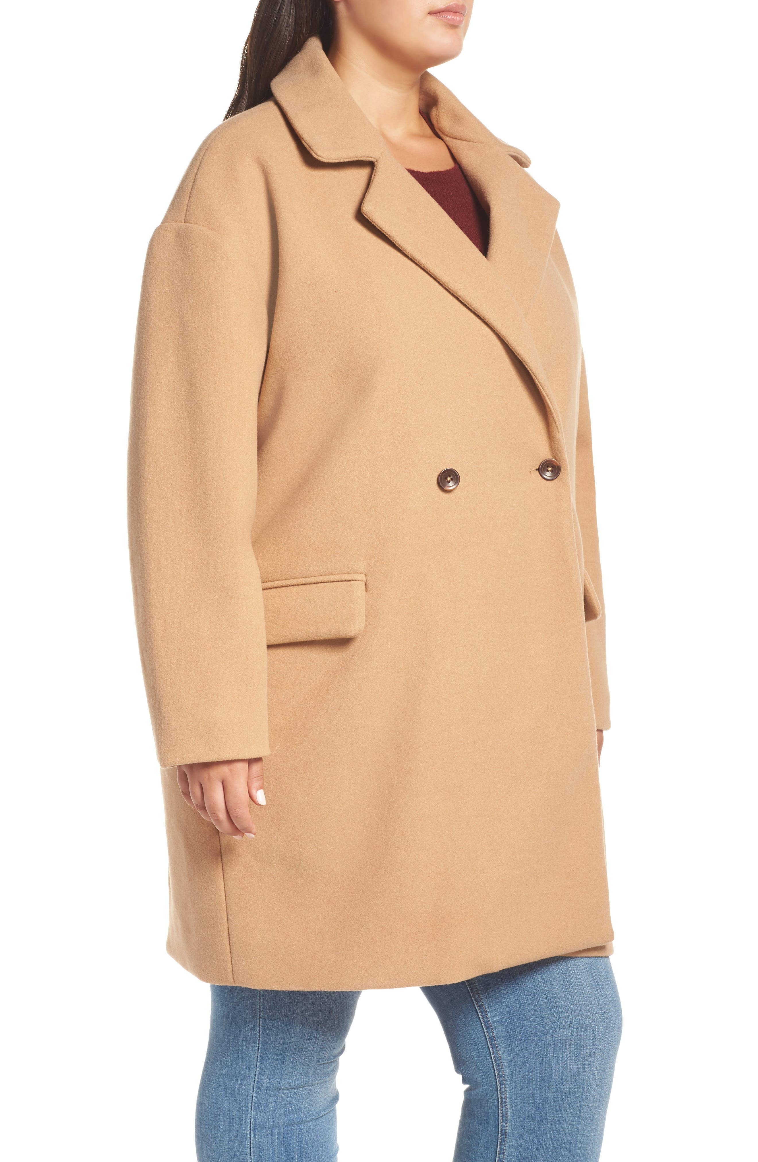 Oversize Double Breasted Coat,                             Alternate thumbnail 3, color,                             TAN