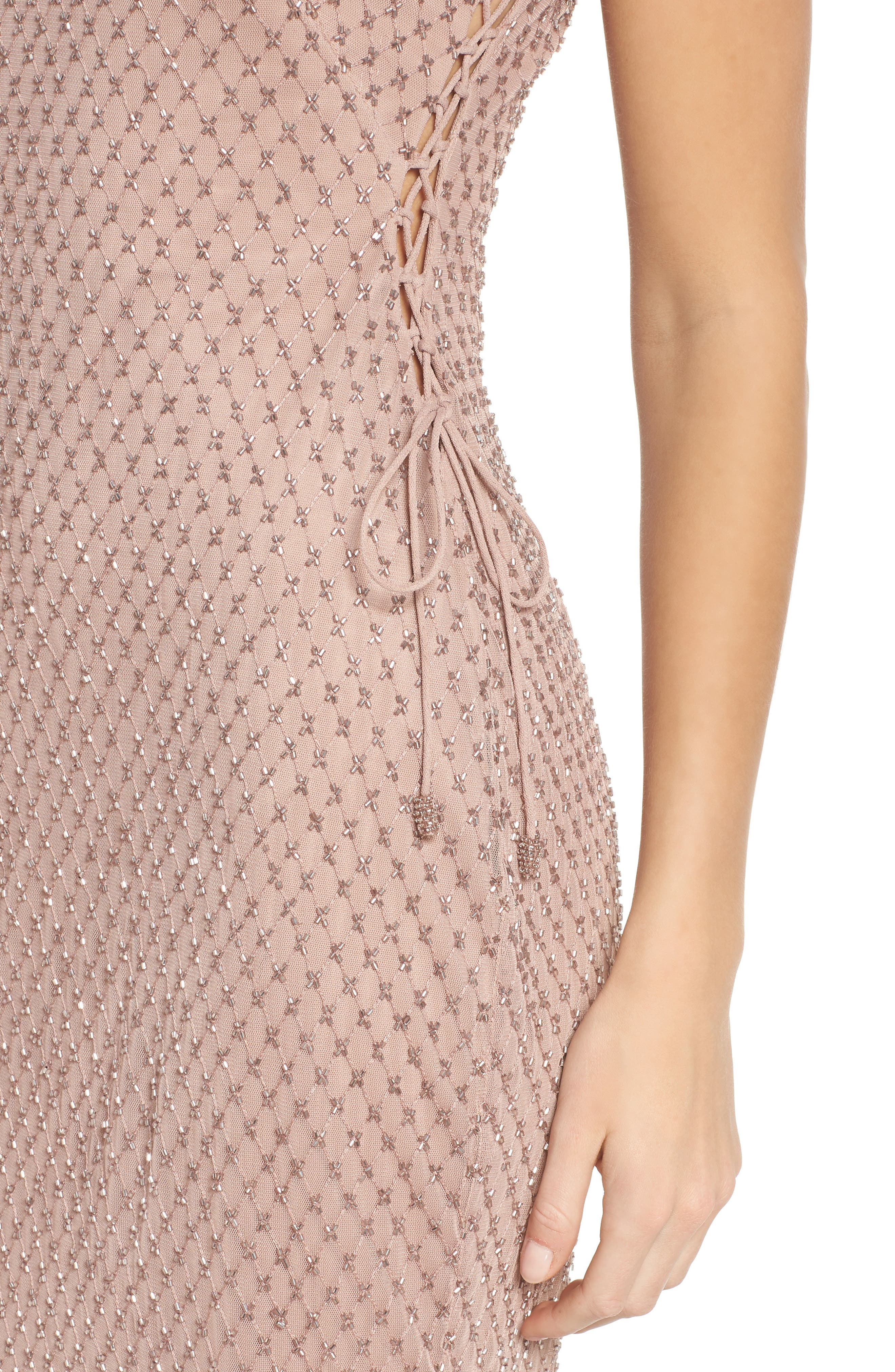 Beaded Lace-Up Dress,                             Alternate thumbnail 4, color,                             220