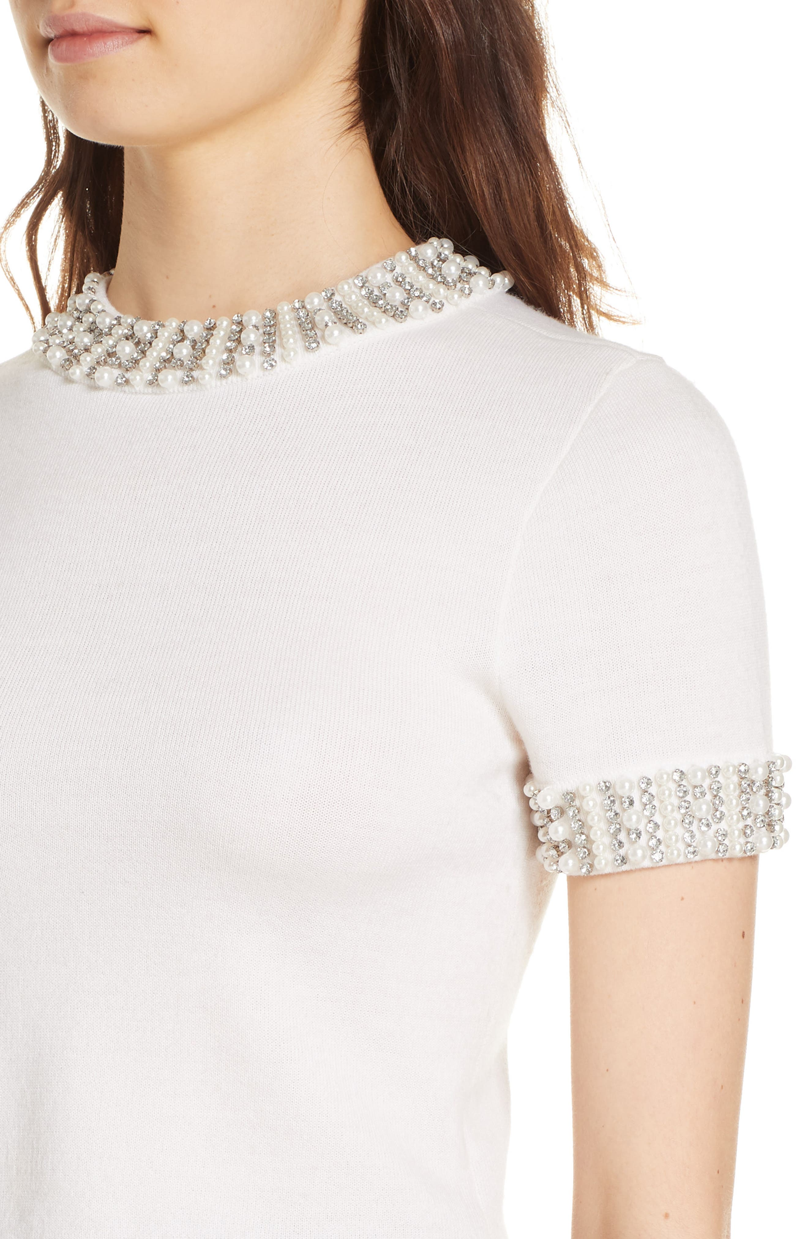 Embellished Crop Sweater,                             Alternate thumbnail 4, color,                             SOFT WHITE