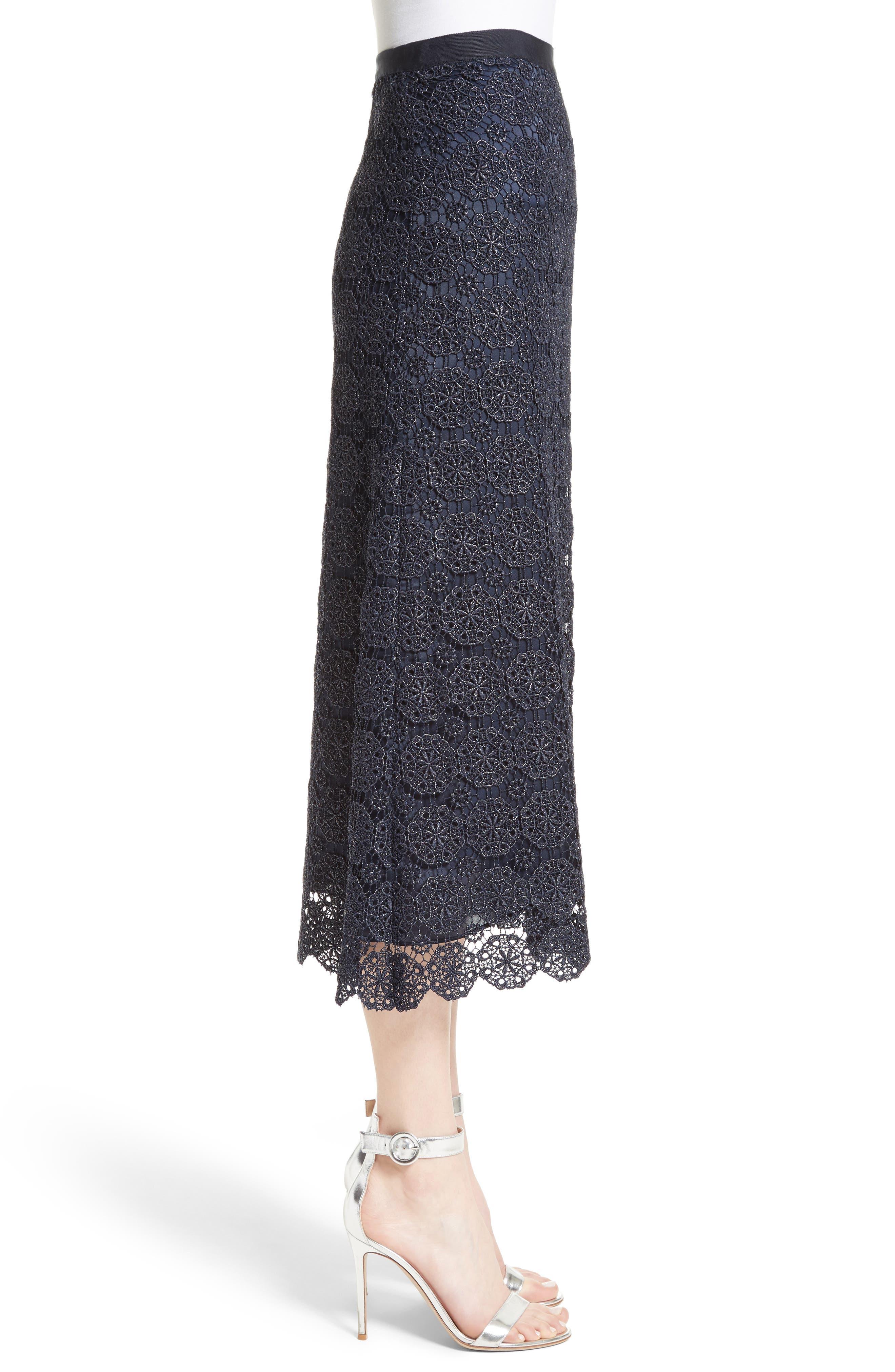 Metallic Guipure Lace Skirt,                             Alternate thumbnail 3, color,                             410