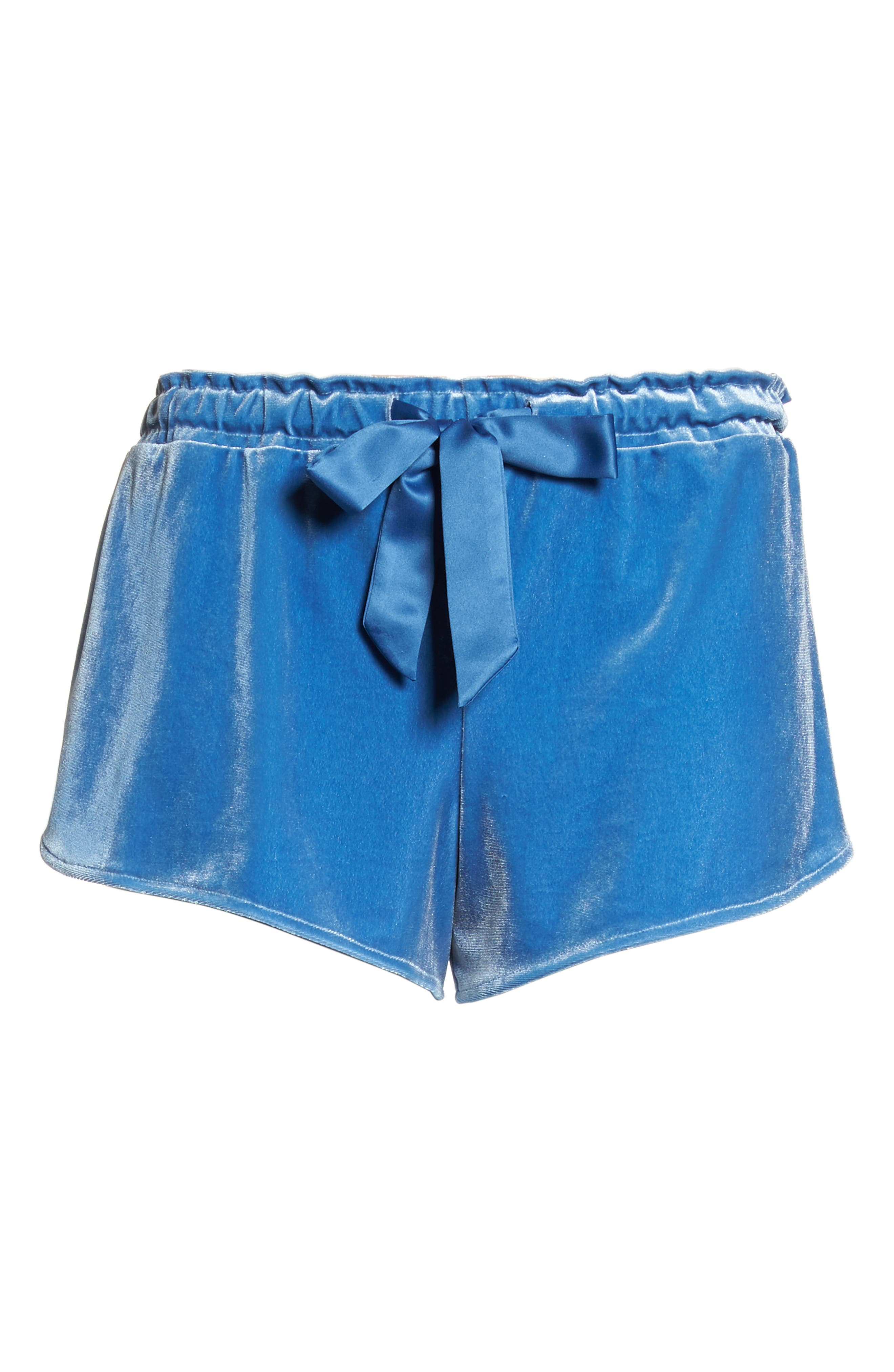 Starry Night Velvet Pajama Shorts,                             Alternate thumbnail 6, color,                             BLUE DELFT