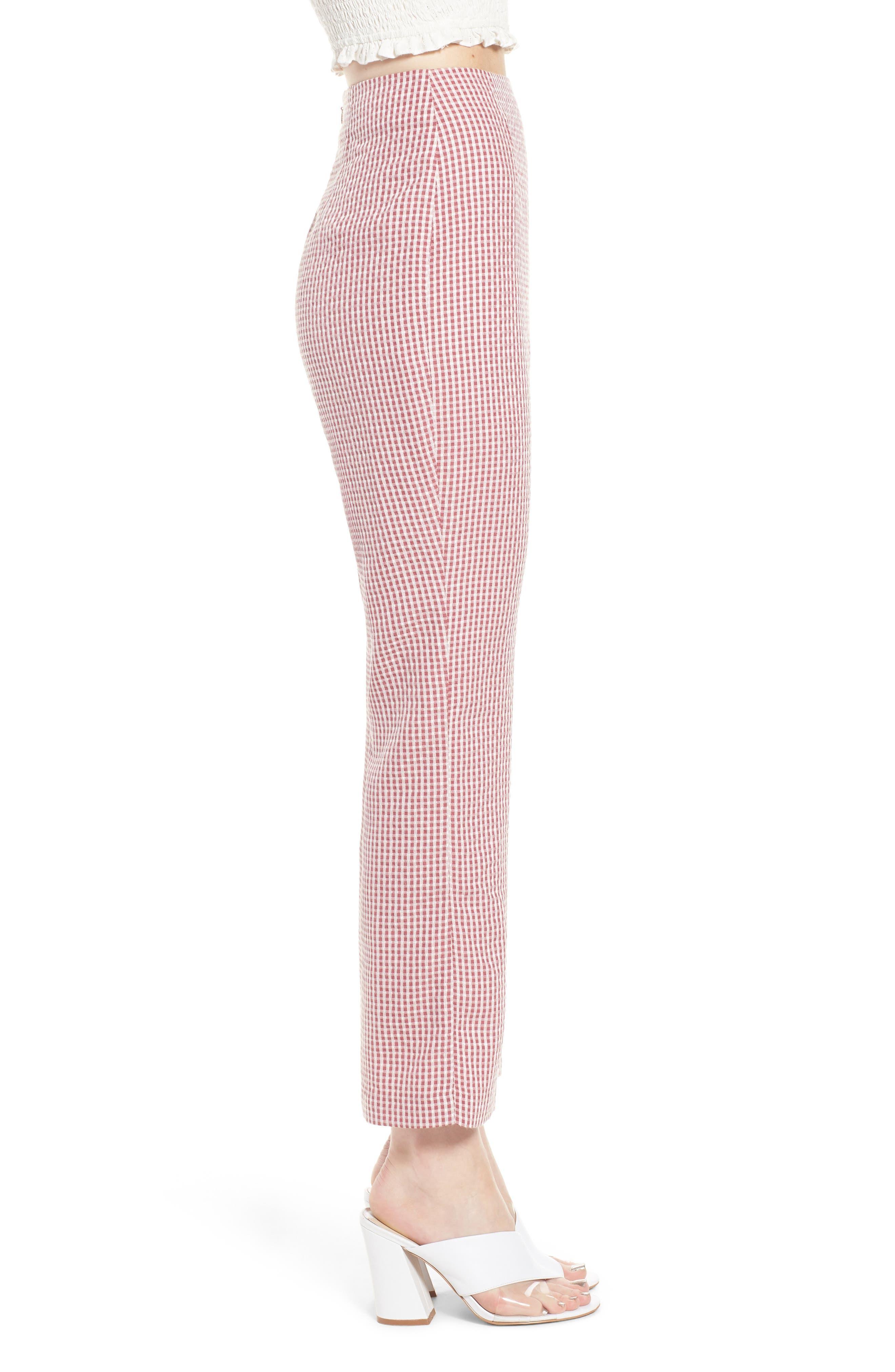 Pisa High Waist Crop Pants,                             Alternate thumbnail 3, color,                             RED GINGHAM