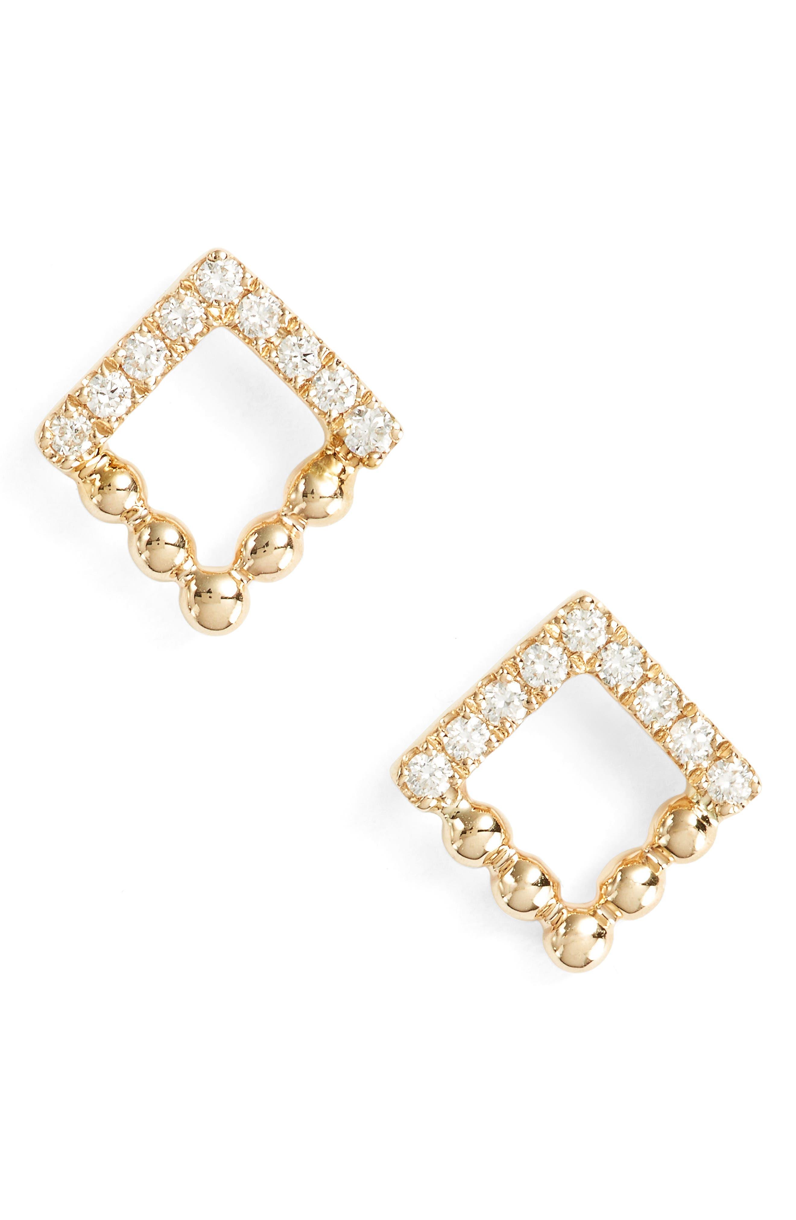 Poppy Rae Square Diamond Stud Earrings,                             Main thumbnail 1, color,                             710