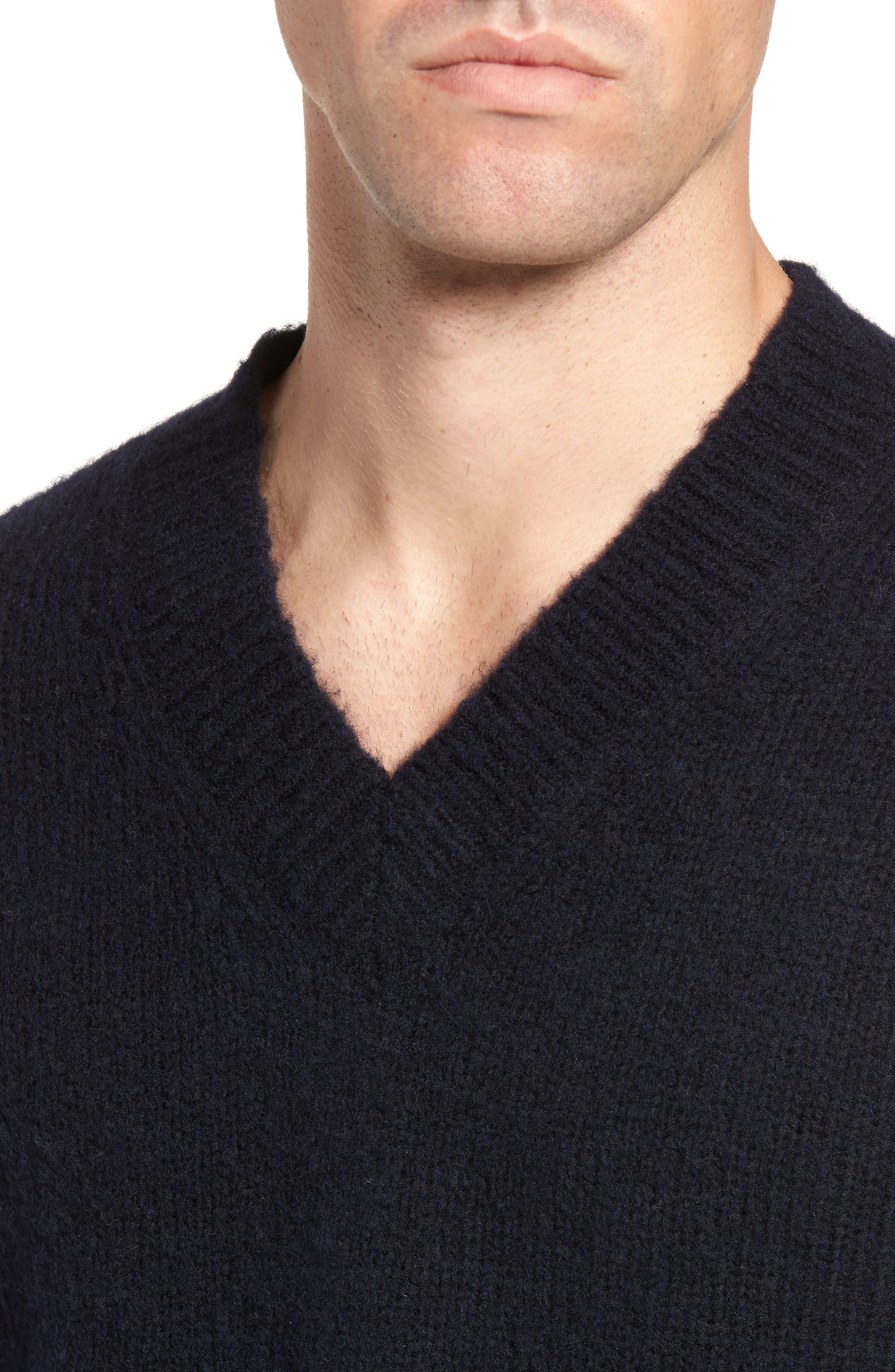Fuzzy Deep V-Neck Wool Blend Sweater,                             Alternate thumbnail 8, color,