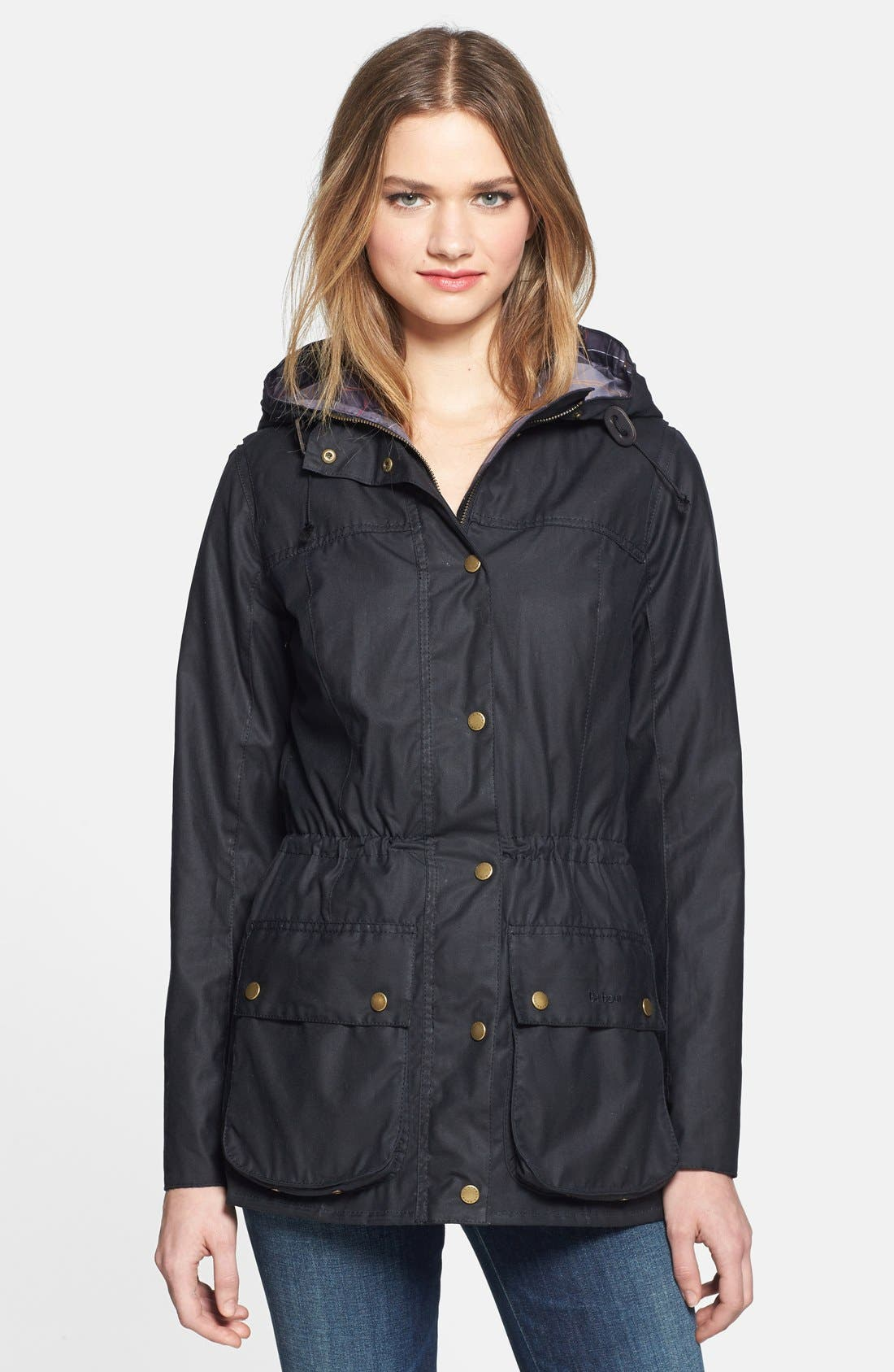 BARBOUR,                             'Vintage Durham' Waterproof Waxed Cotton Jacket,                             Main thumbnail 1, color,                             410