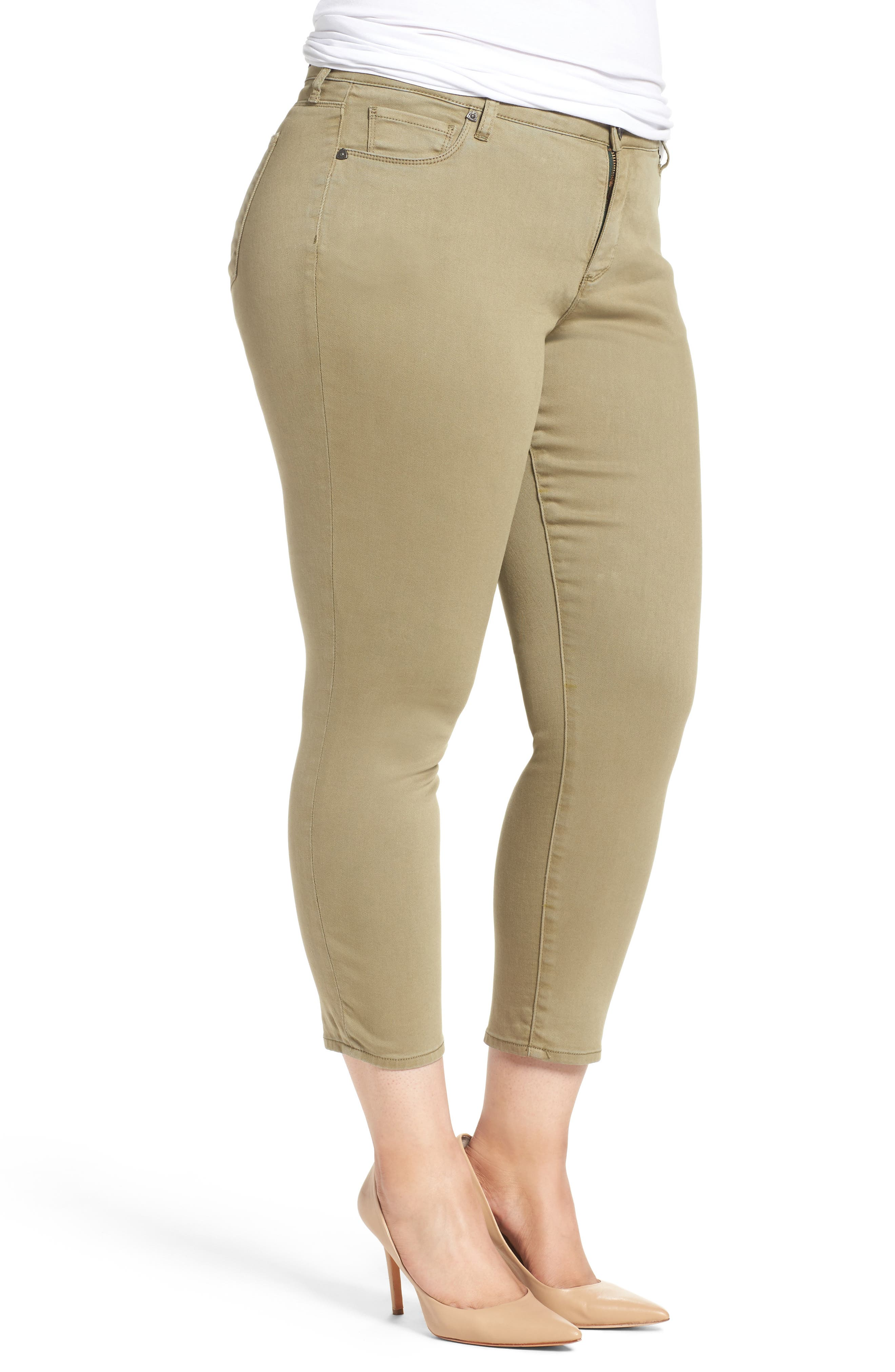 Reese Stretch Ankle Skinny Pants,                             Alternate thumbnail 3, color,                             OLIVE