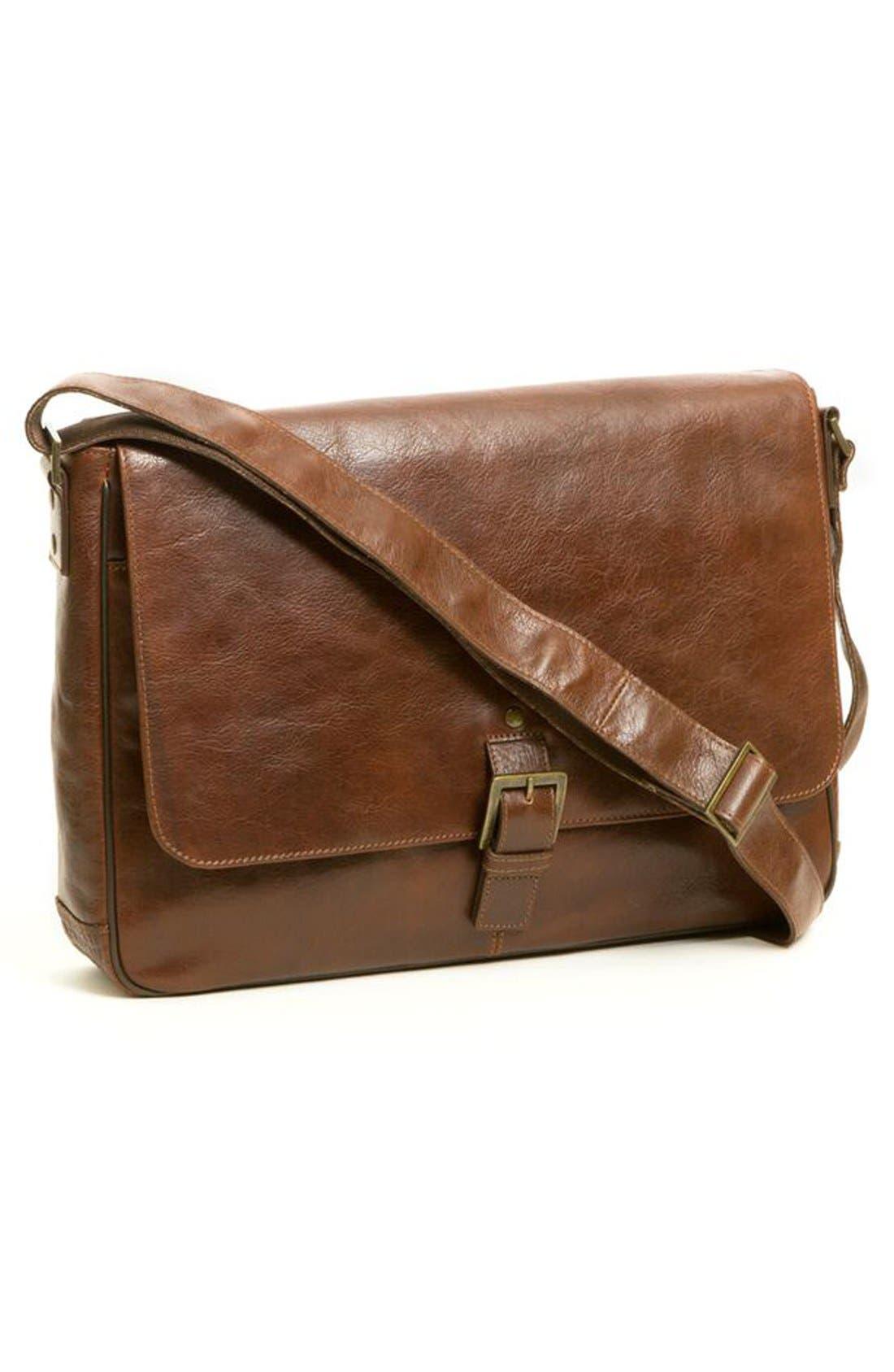 BOCONI,                             'Becker' Leather Messenger Bag,                             Alternate thumbnail 5, color,                             WHISKEY